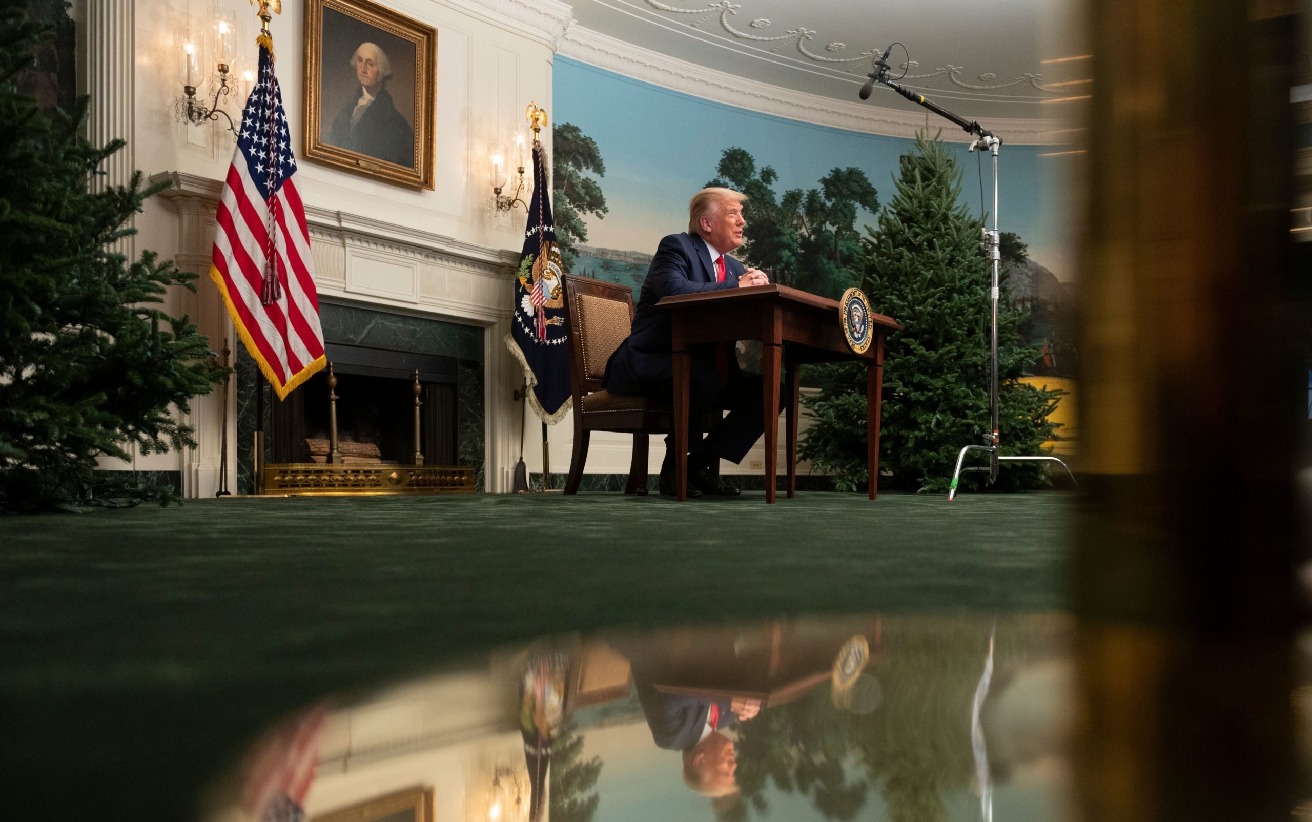 US President Donald Trump speaks to reporters after participating in a Thanksgiving teleconference with members of the United States Military, at the White House in Washington, DC, on November 26, 2020. (Photo by ANDREW CABALLERO-REYNOLDS/AFP via Getty Images)