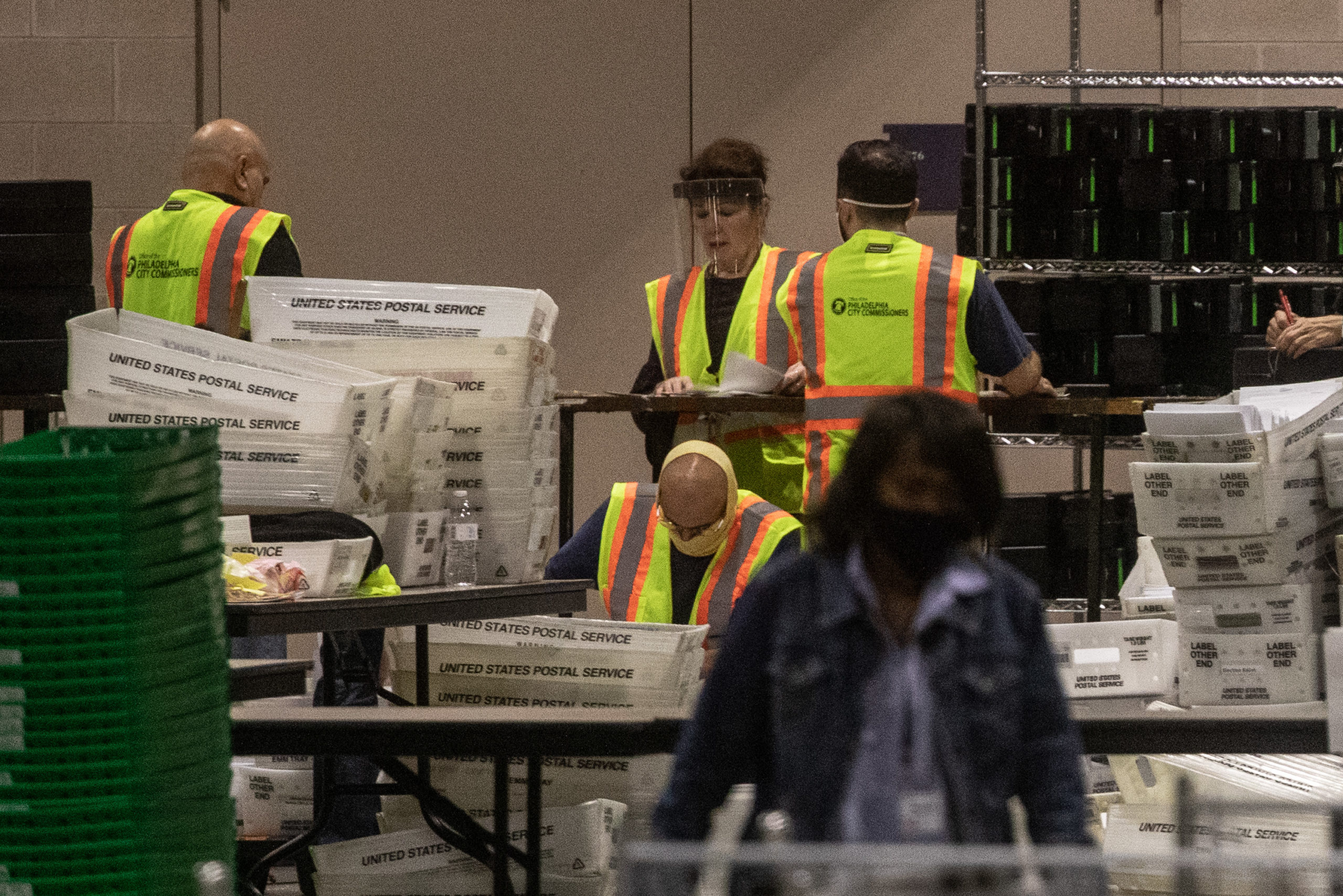 Election workers count ballots on Nov. 6 in Philadelphia, Pennsylvania. (Chris McGrath/Getty Images)