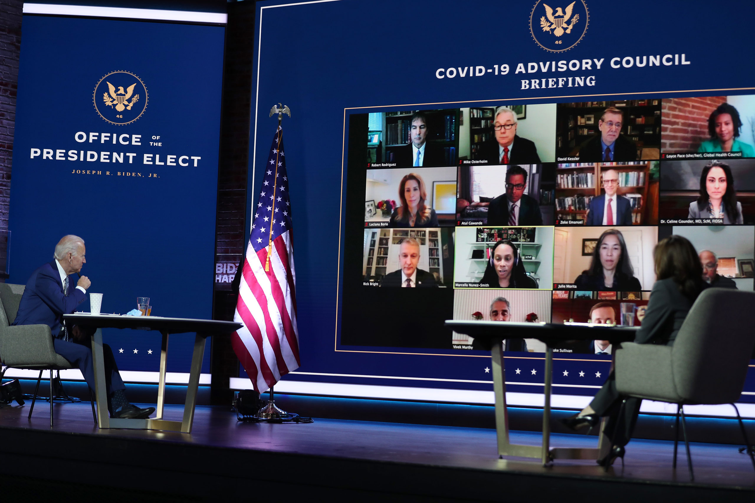 President-elect Joe Biden and Vice President-elect Kamala Harris receive a virtual briefing from their coronavirus advisory board on Nov. 9 in Wilmington, Delaware. (Joe Raedle/Getty Images)