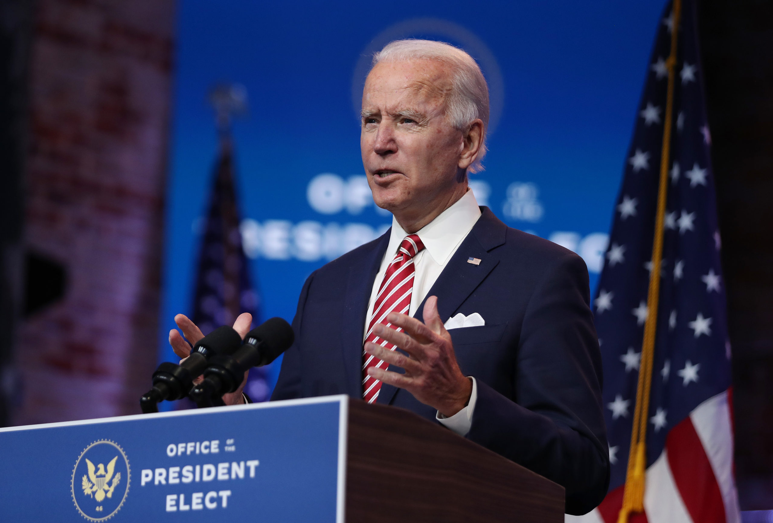 U.S. President-elect Joe Biden delivers remarks about the U.S. economy during a press briefing at the Queen Theater on November 16, 2020 in Wilmington, Delaware. (Joe Raedle/Getty Images)