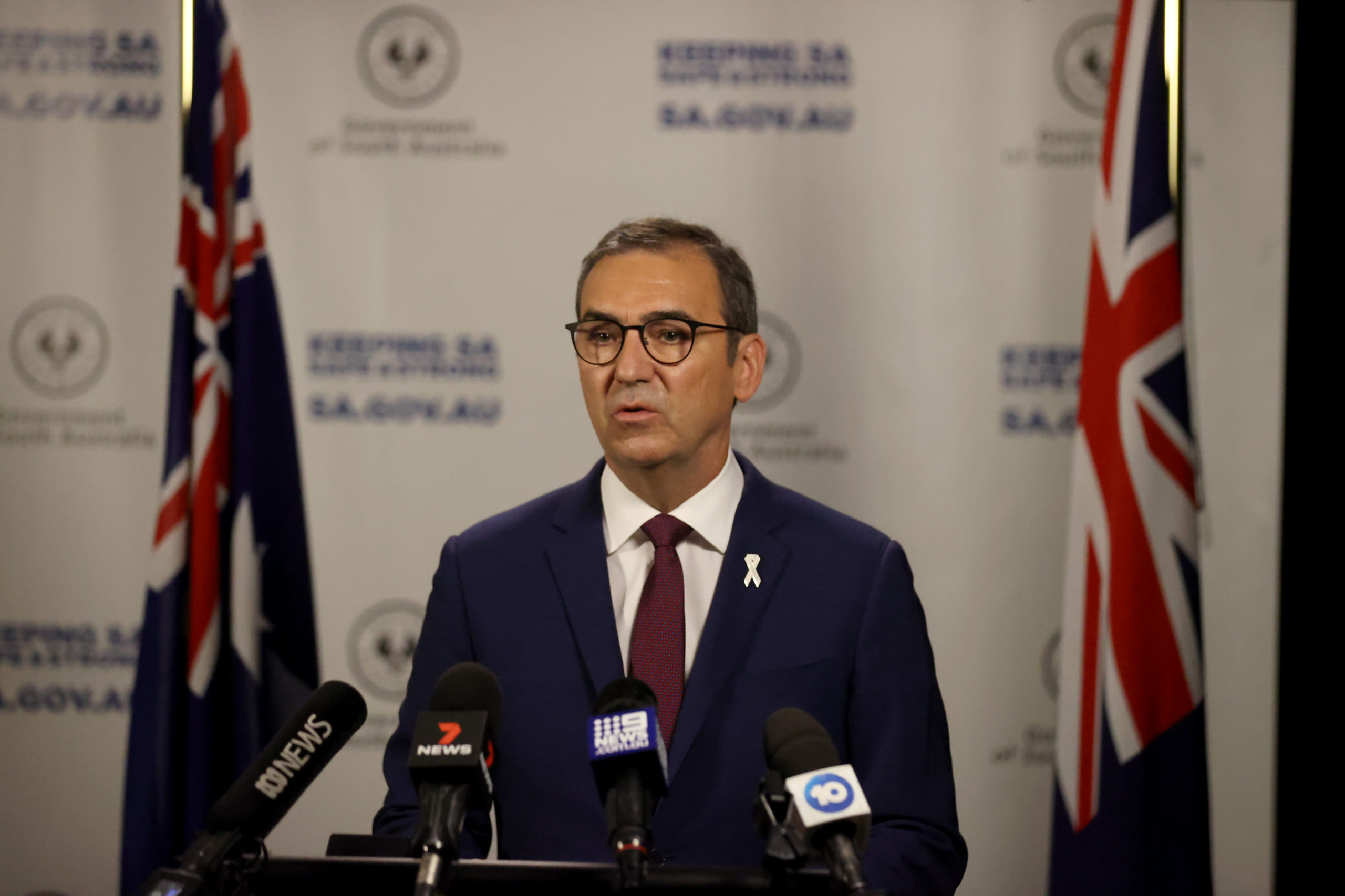South Australian Premier Steven Marshall announces restrictions being eased in South Australia on Friday. (Kelly Barnes/Getty Images)