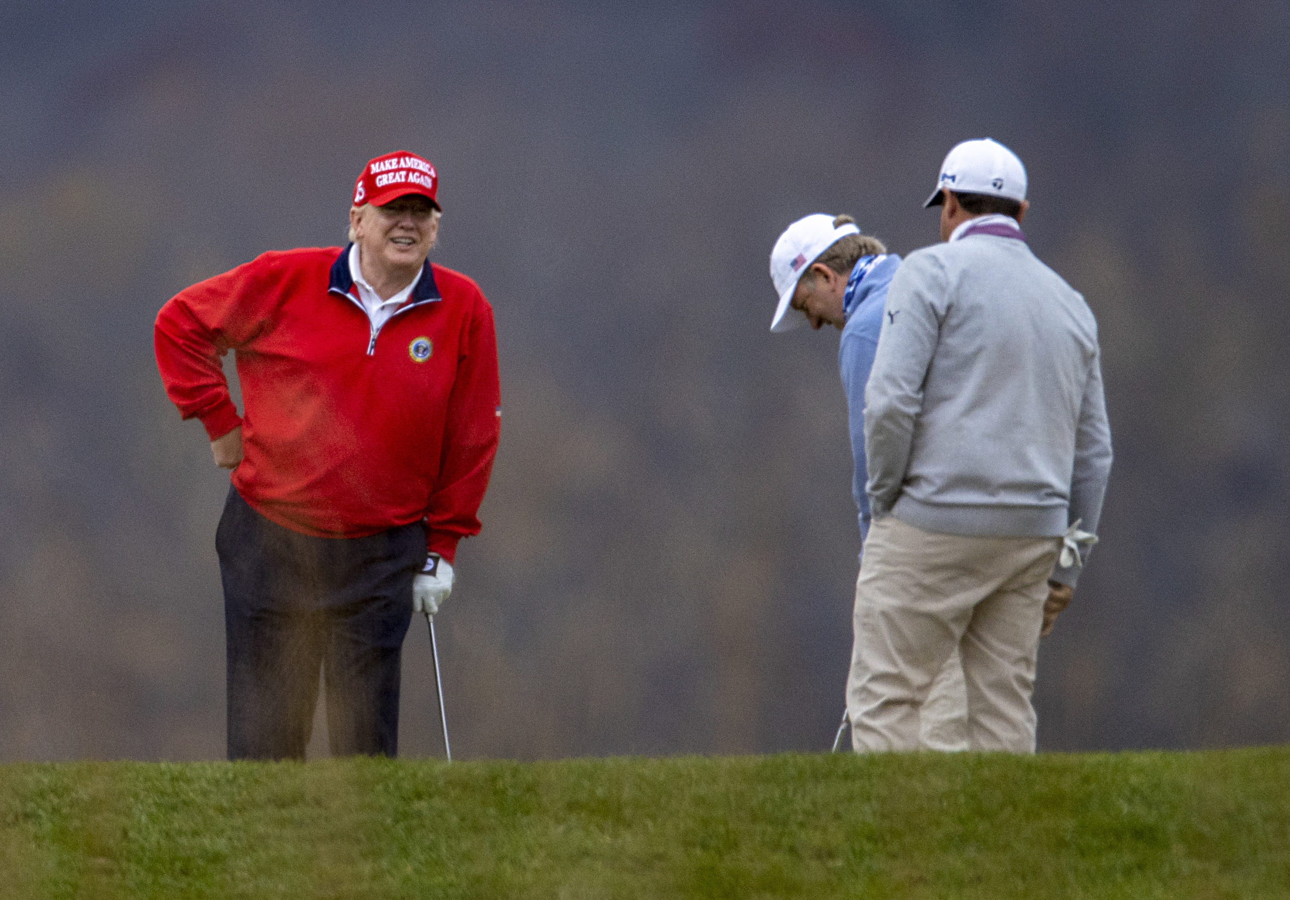 STERLING, VIRGINIA - NOVEMBER 27: US President Donald Trump golfs at Trump National Golf Club on November 27, 2020 in Sterling, Virginia. President Trump heads to Camp David for the weekend after playing golf. (Photo by Tasos Katopodis/Getty Images)