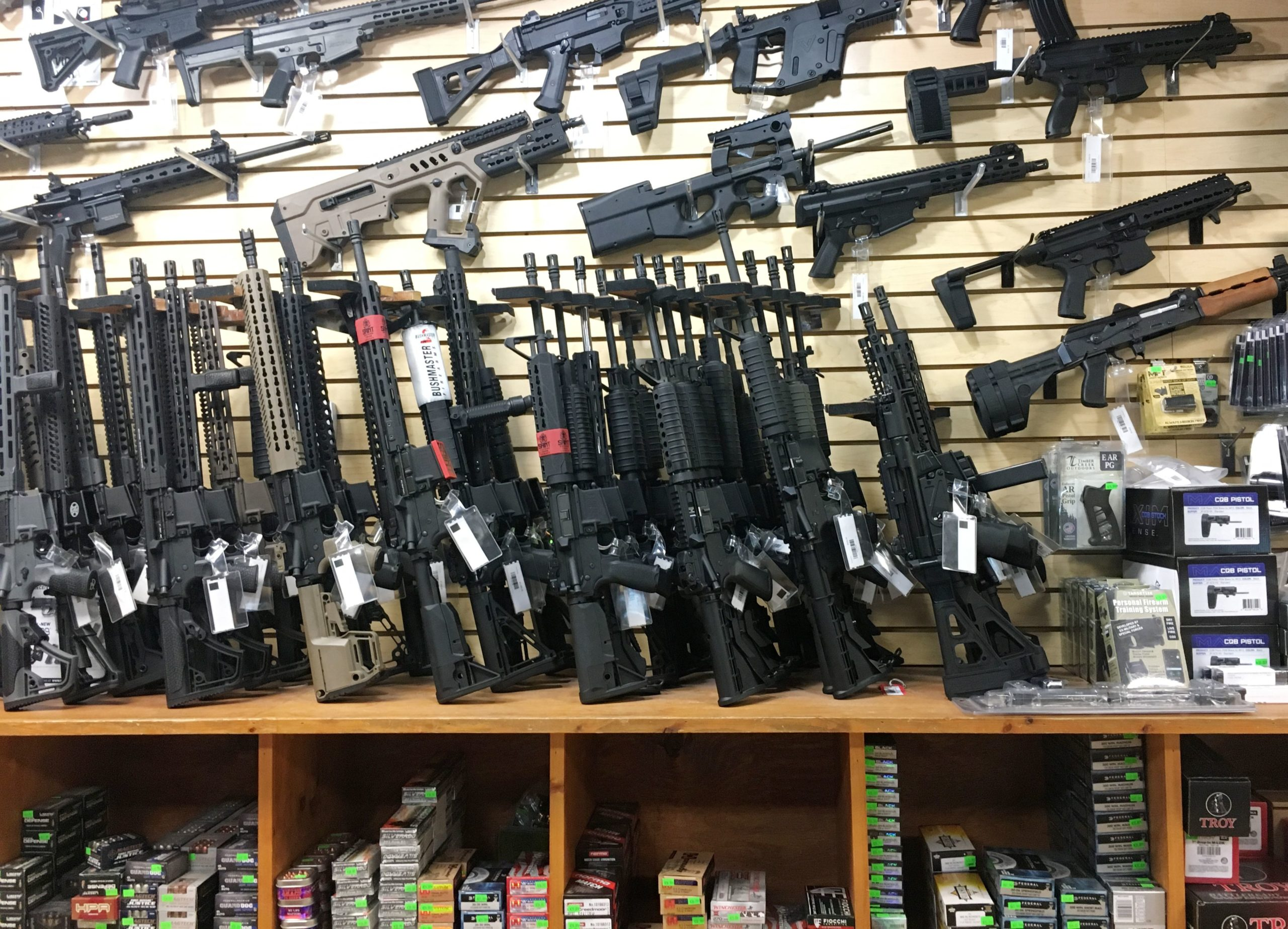 "Semi-automatic rifles are seen for sale in a gun shop in Las Vegas, Nevada on October 4, 2017. - Mass killer Stephen Paddock used semi-automatic weapons which he modified with ""bump-fire stock"" to make them fire at the same speed as a fully automatic weapon when he killed 58 people and injured over 500 in the worst mass shooting in modern American history on October 1, 2017 at a country music festival in Las Vegas. (ROBYN BECK/AFP via Getty Images)"