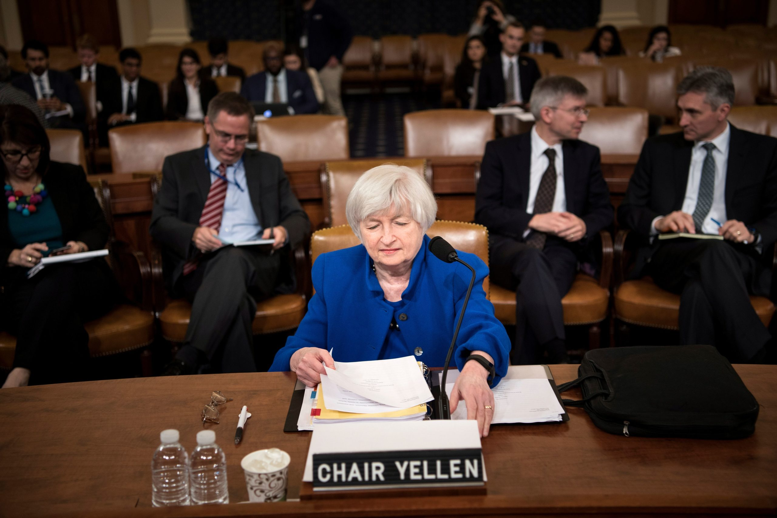 Former Federal Reserve Chairwoman Janet Yellen looks at her papers before a hearing of the Joint Economic Committee on Capitol Hill, in November 2017. (Brendan Smialowski/AFP via Getty Images)