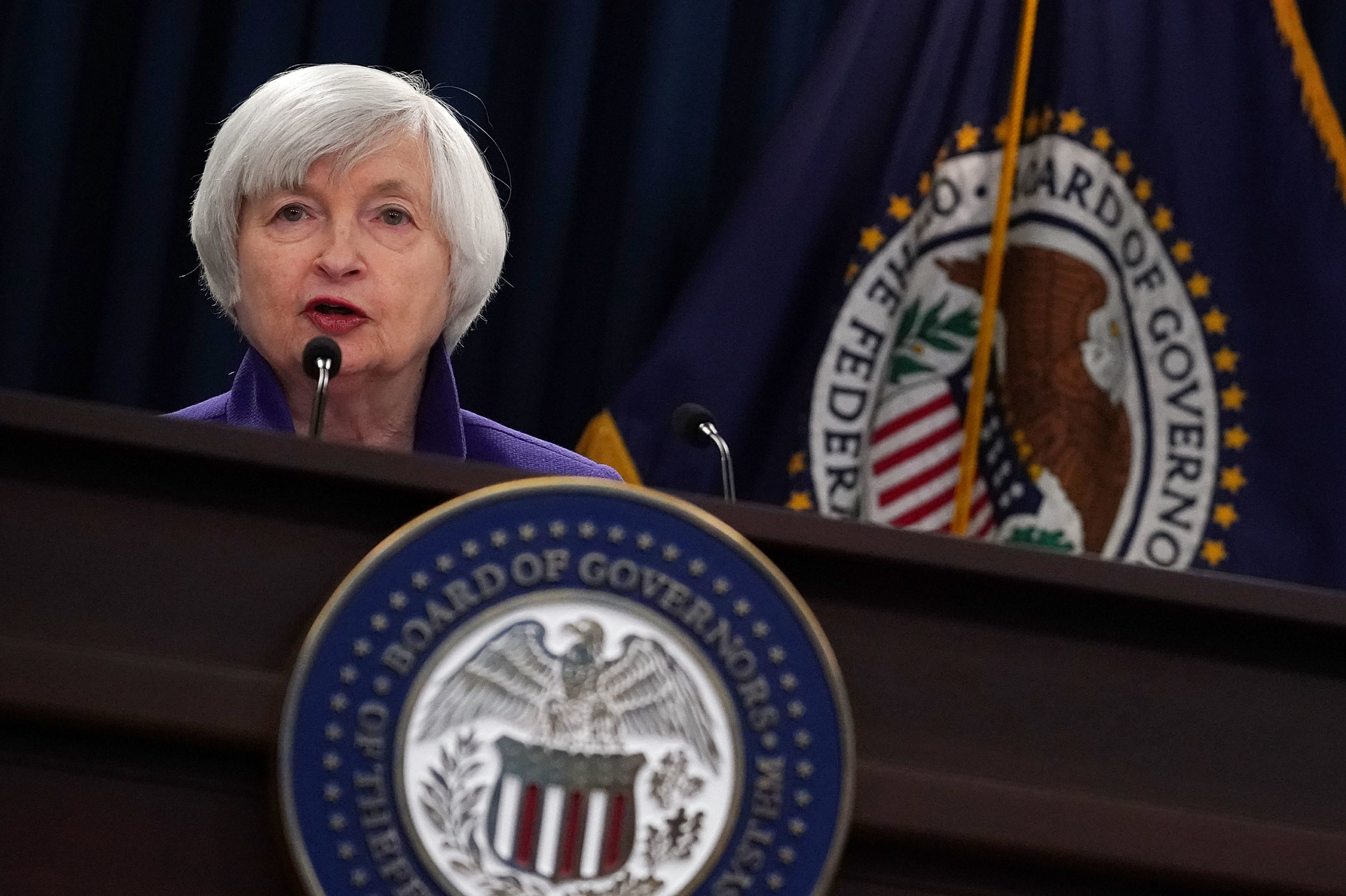 Former Federal Reserve Chair Janet Yellen speaks during a news conference on Dec. 13, 2017 in Washington, D.C. (Alex Wong/Getty Images)