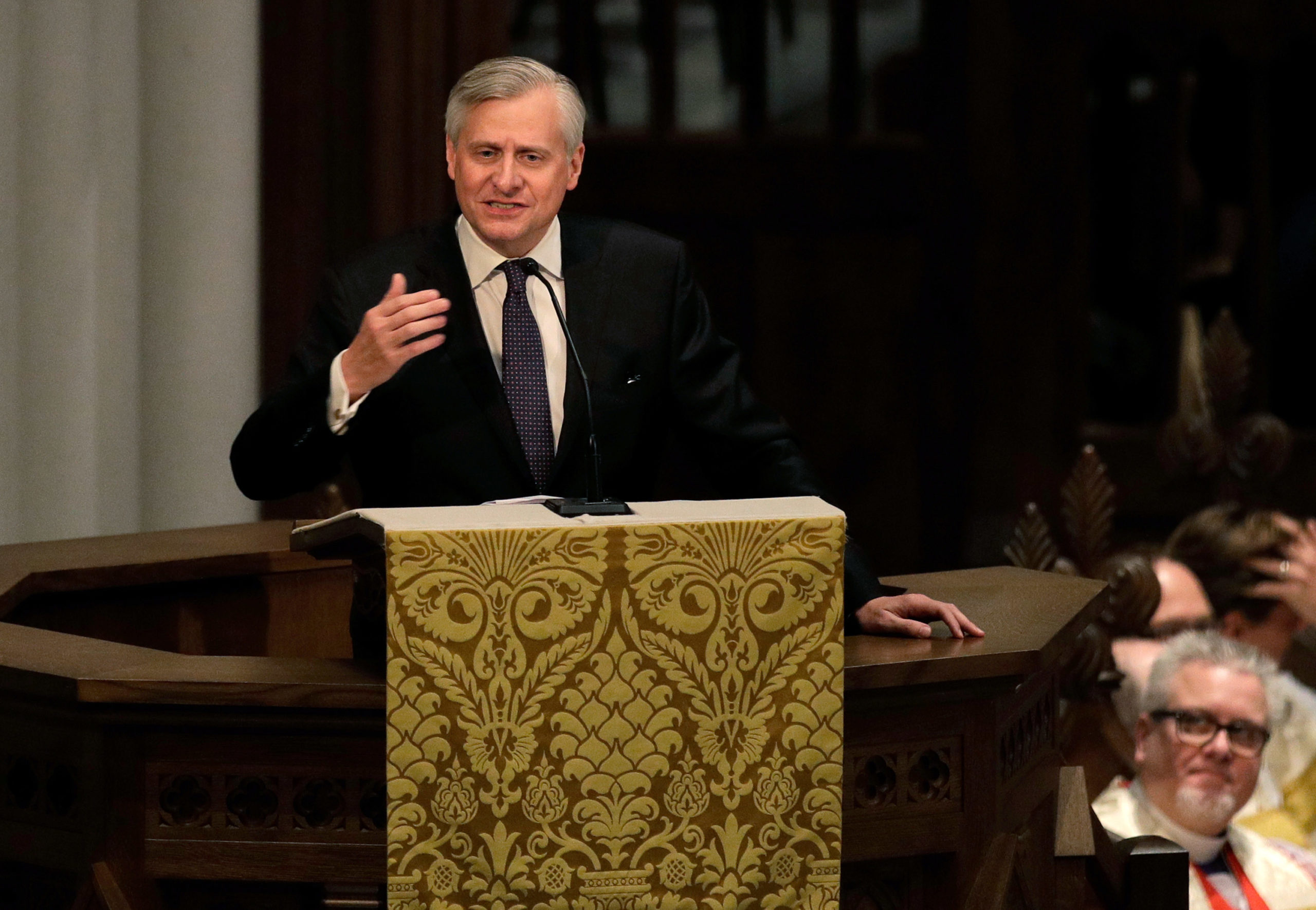 Jon Meacham speaks during a funeral service for former first lady Barbara Bush at St. Martin's Episcopal Church, April 21, 2018 in Houston, Texas. (David J. Phillip-Pool/Getty Images)