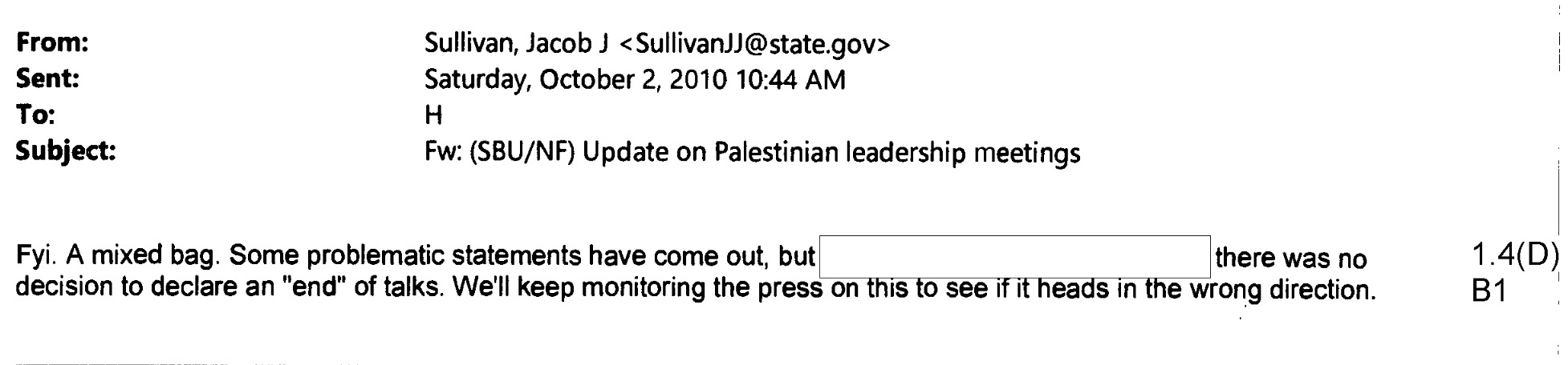 Email from Jake Sullivan to Hillary Clinton, Oct. 2, 2010, containing classified information (via State Department)