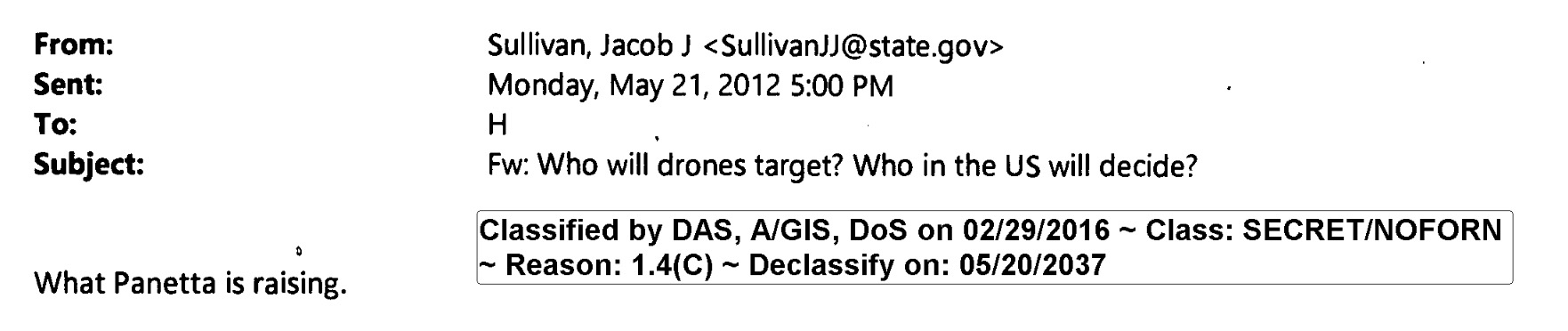 Email from Jake Sullivan to Hillary Clinton, May 21, 2012, containing classified information (via State Department)