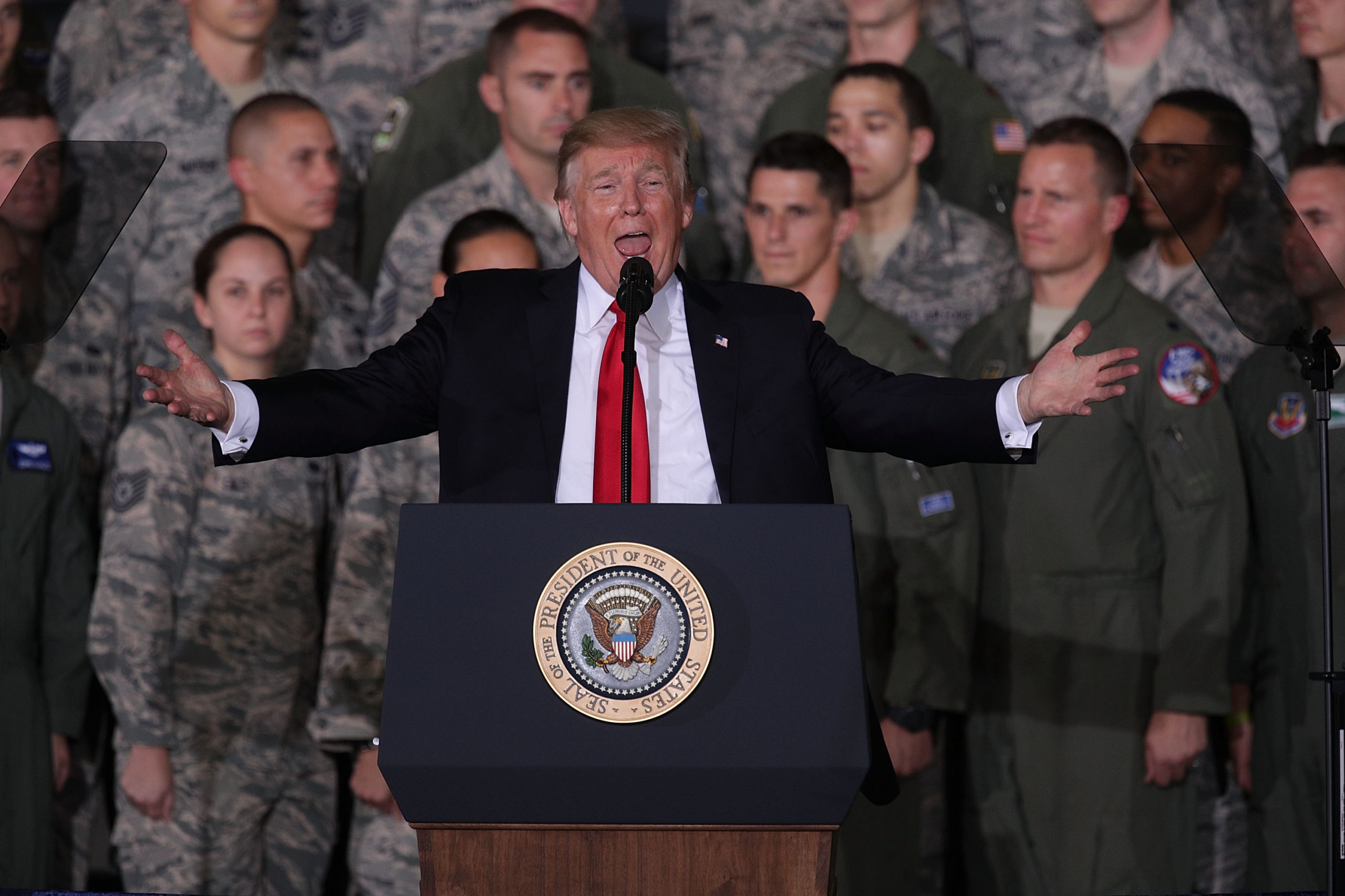 JOINT BASE ANDREWS, MD - SEPTEMBER 15: U.S. President Donald Trump speaks to Air Force personnel during an event September 15, 2017 at Joint Base Andrews in Maryland. President Trump attended the event to celebrate the 70th birthday of the U.S. Air Force. (Photo by Alex Wong/Getty Images)
