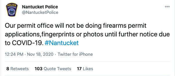 Deleted Nantucket Police Department tweet