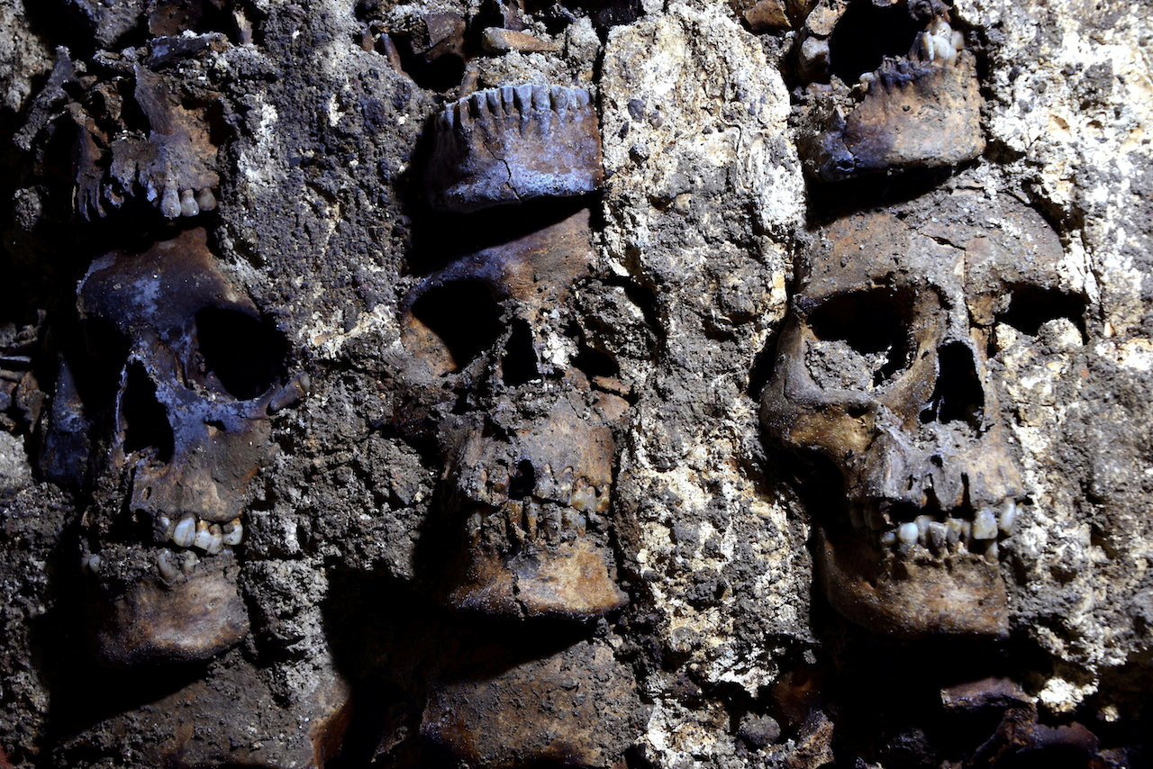 Part of an Aztec tower of human skulls, believed to form part of the Huey Tzompantli. September 22, 2020. Photo: INAH/Reuters