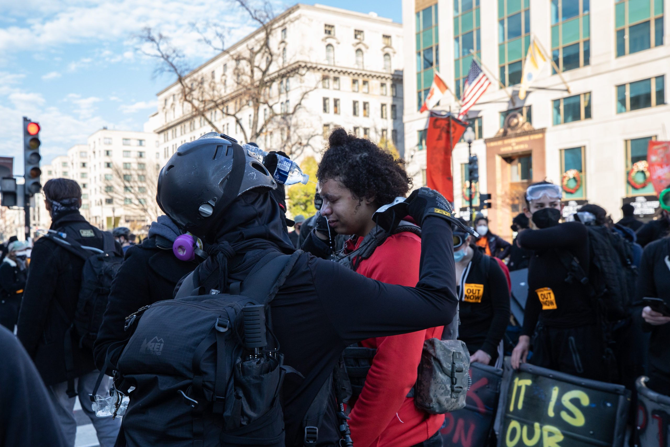 A protester was sprayed with a chemical agent they described as mace by Metropolitan Police Department officers in Black Lives Matter Plaza in Washington, D.C. on Dec. 12, 2020. (Photo: Kaylee Greenlee - Daily Caller News Foundation)