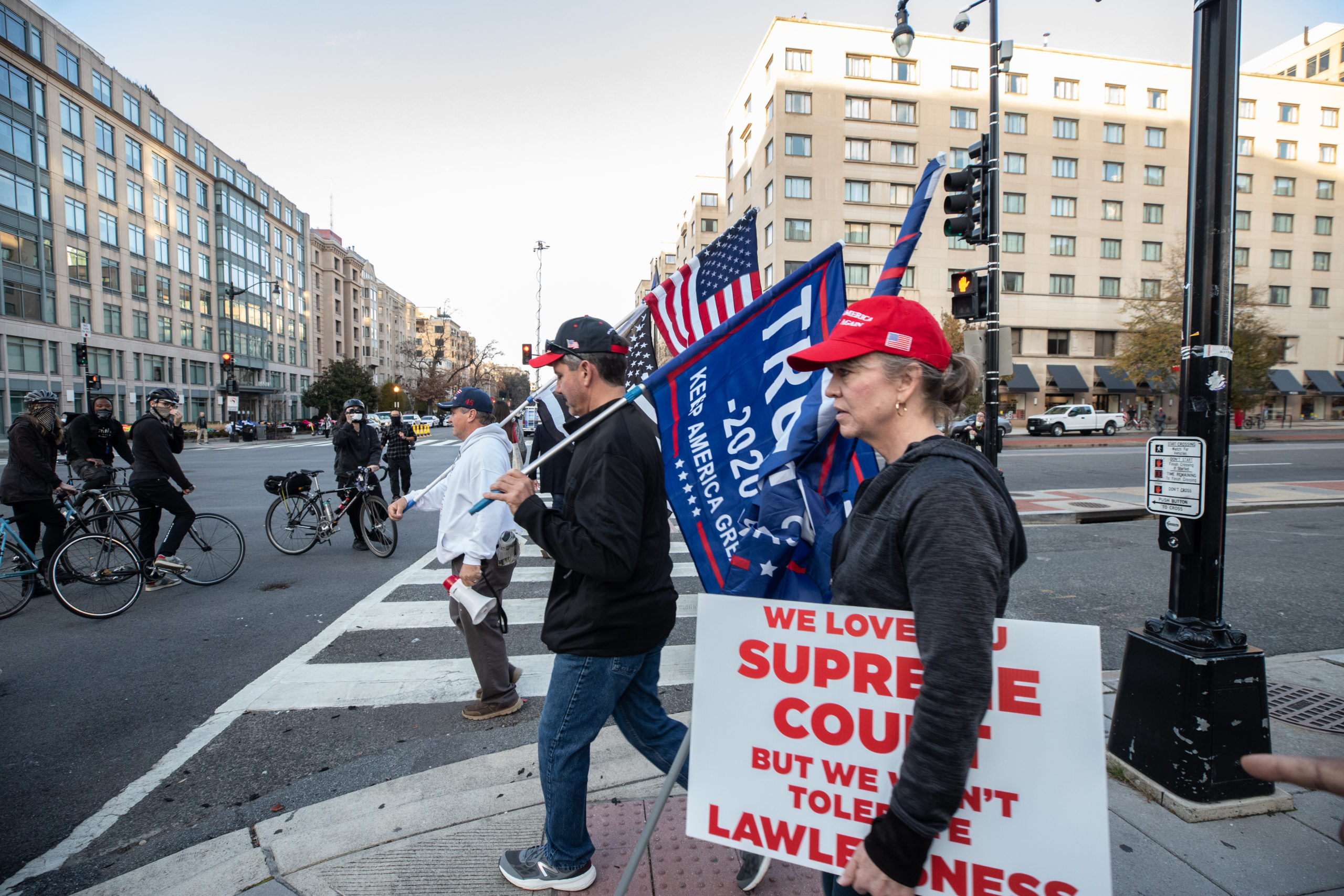 Supporters of President Donald Trump walked through Black Lives Matter Plaza after a pro-Trump demonstration in Washington, D.C. on Dec. 12, 2020. (Photo: Kaylee Greenlee - Daily Caller News Foundation)