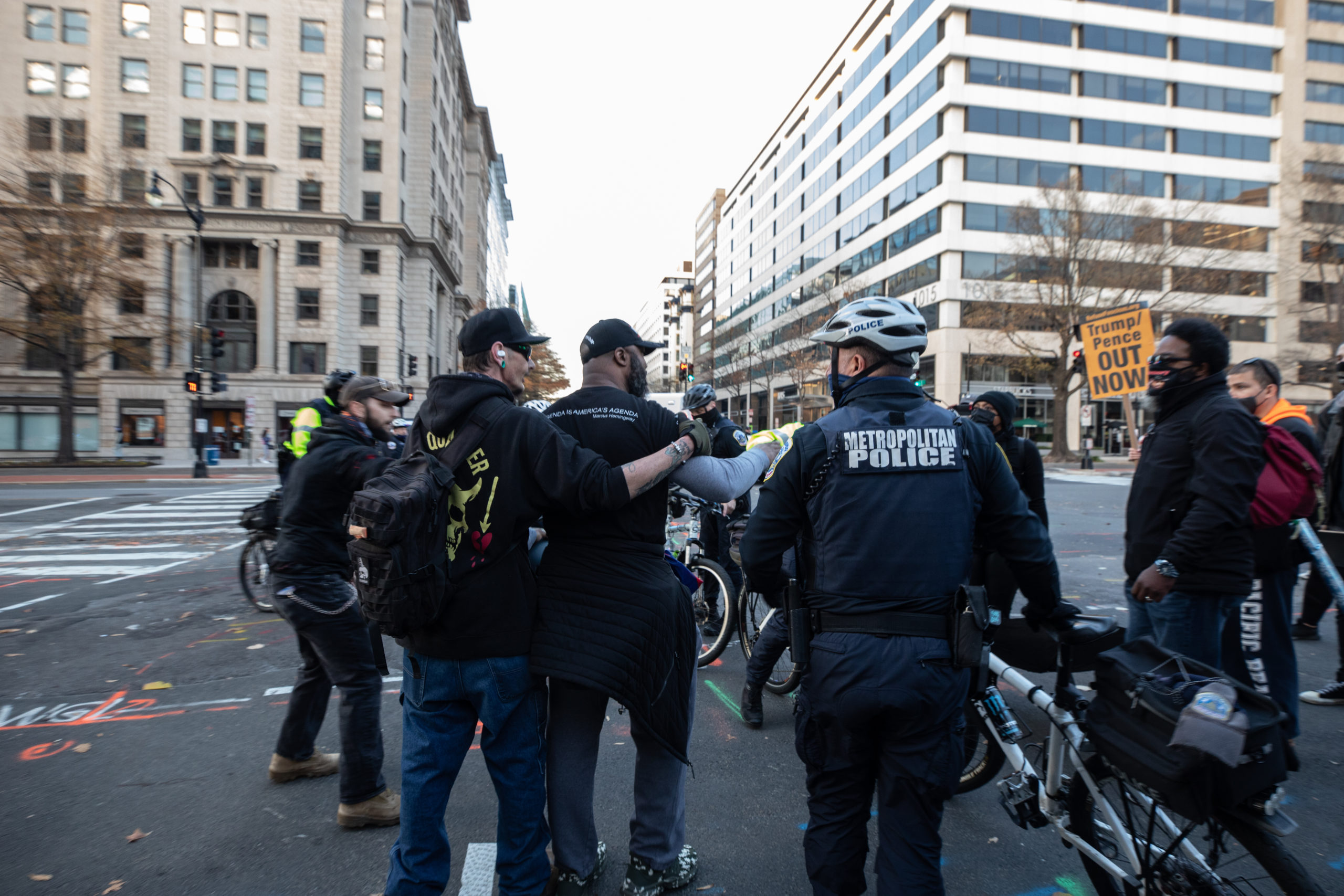 A man had to be pulled away from a group of counter protesters by a member of the Proud Boys near McPherson Square in Washington, D.C. on Dec. 12, 2020. (Photo: Kaylee Greenlee - Daily Caller News Foundation)