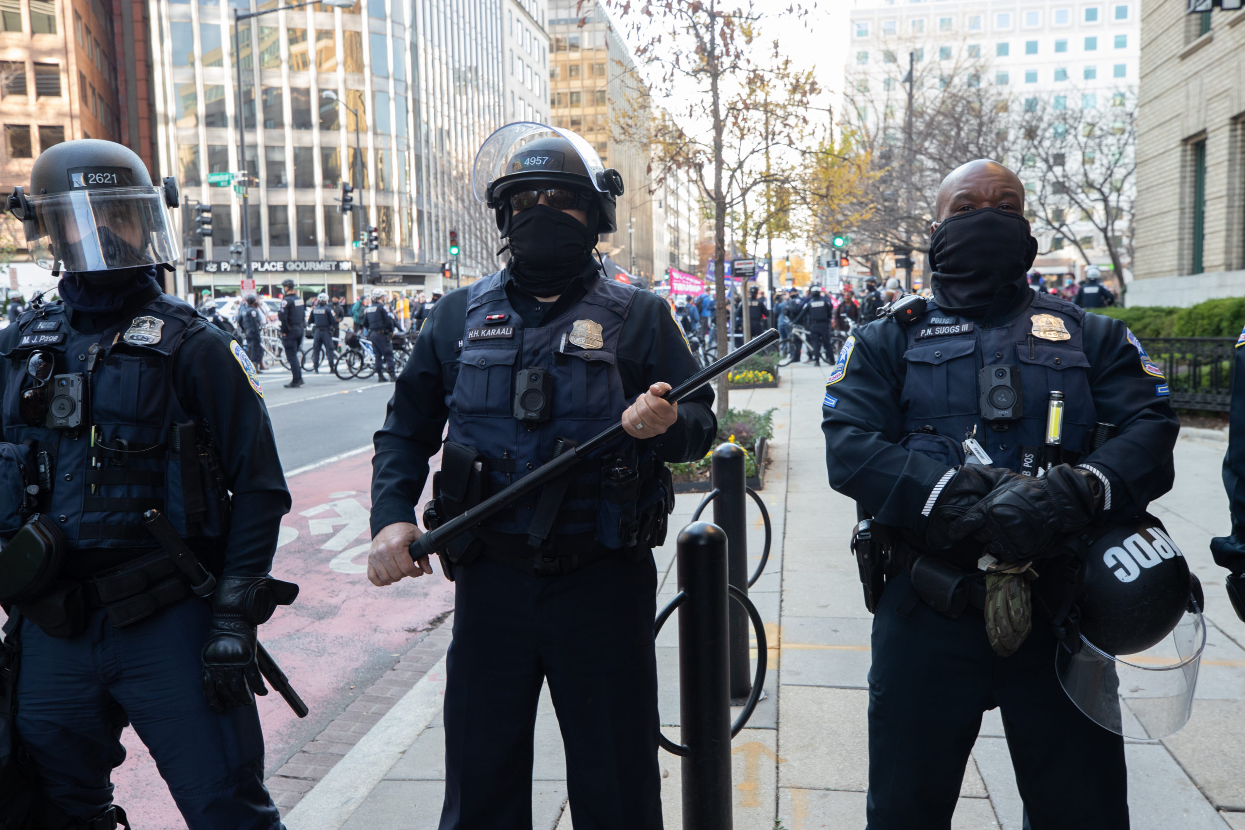 Metropolitan Police Department officers stand between a demonstration of President Donald Trump and counter protesters in Black Lives Matter Plaza on Dec. 12, 2020. (Photo: Kaylee Greenlee - Daily Caller News Foundation)