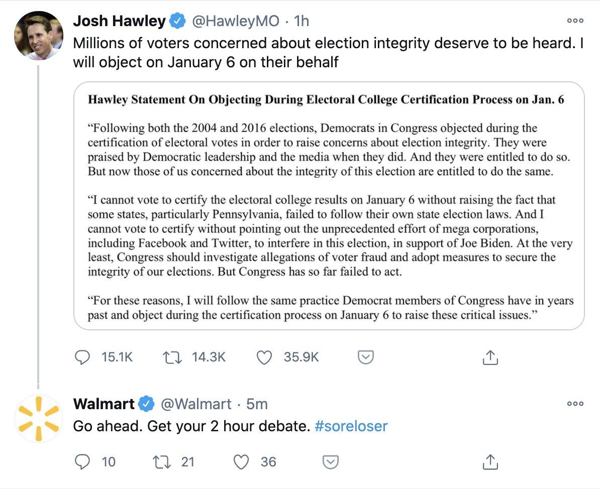 Walmart Tweet Calls Josh Hawley A Sore Loser (Screenshot/Twitter @lachlan)