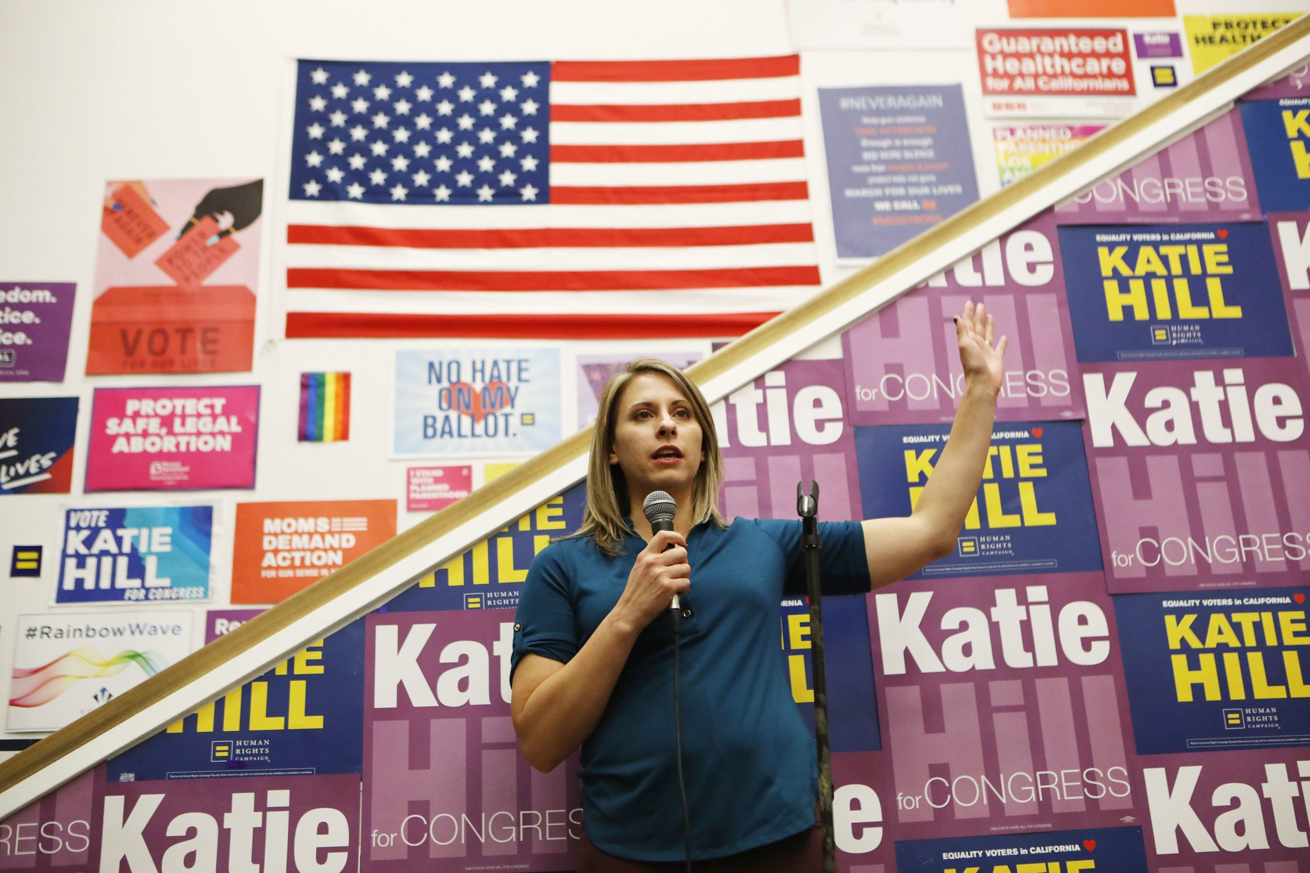 STEVENSON RANCH, CA - NOVEMBER 05: Democratic Congressional candidate Katie Hill speaks to supporters at a canvass launch in California's 25th Congressional district on November 5, 2018 in Stevenson Ranch, California. Hill is running against U.S. Rep. Steve Knight (R-CA). Democrats are targeting at least six congressional seats in California, currently held by Republicans, where Hillary Clinton received more votes in the 2016 presidential election. These districts have become the centerpiece of their strategy to flip the House and represent nearly one-third of the 23 seats needed for the Democrats to take control of the chamber in the November 6 midterm elections. (Photo by Mario Tama/Getty Images)