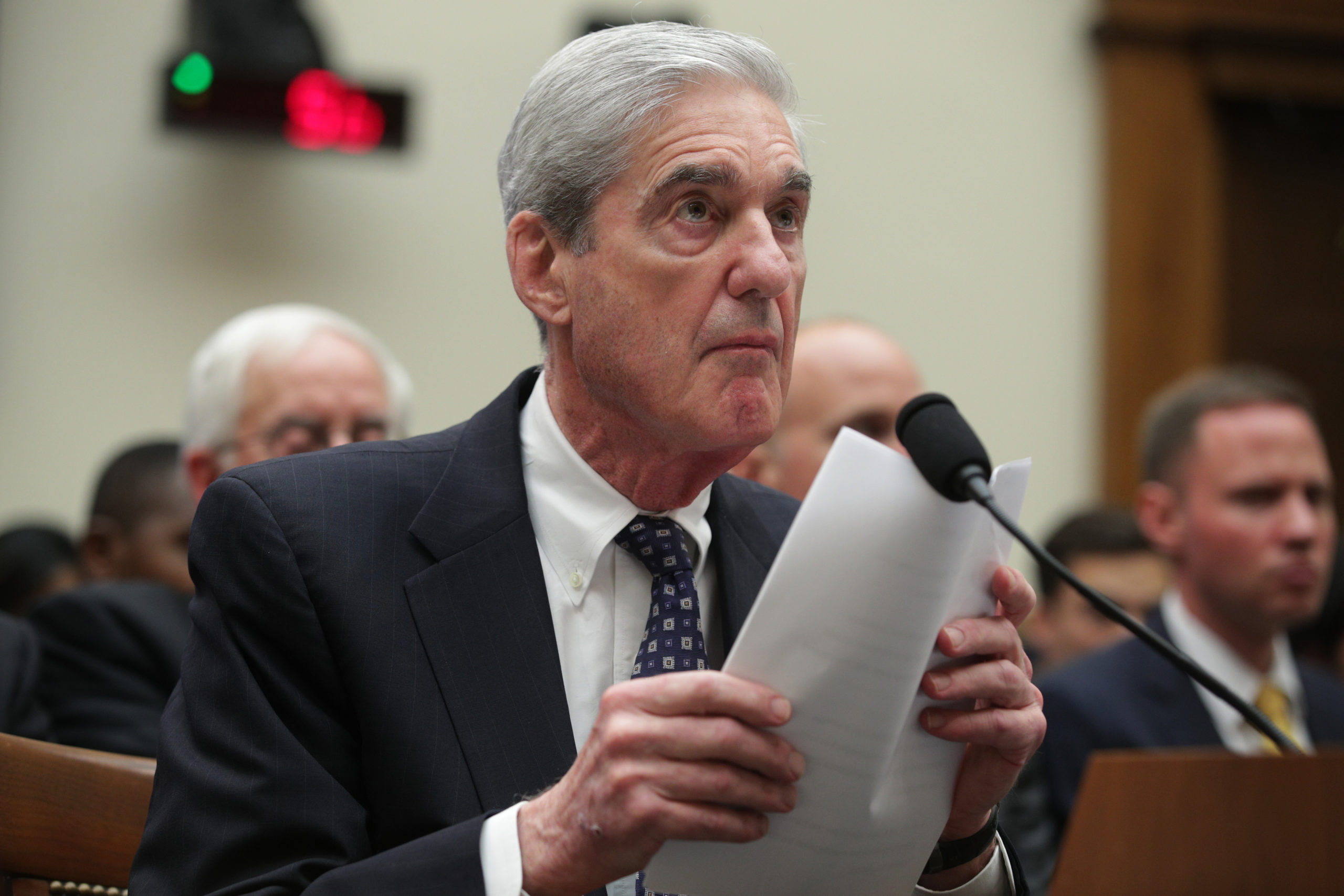 Former Special Counsel Robert Mueller testifies before the House Intelligence Committee about his report on Russian interference in the 2016 presidential election. (Photo by Alex Wong/Getty Images)