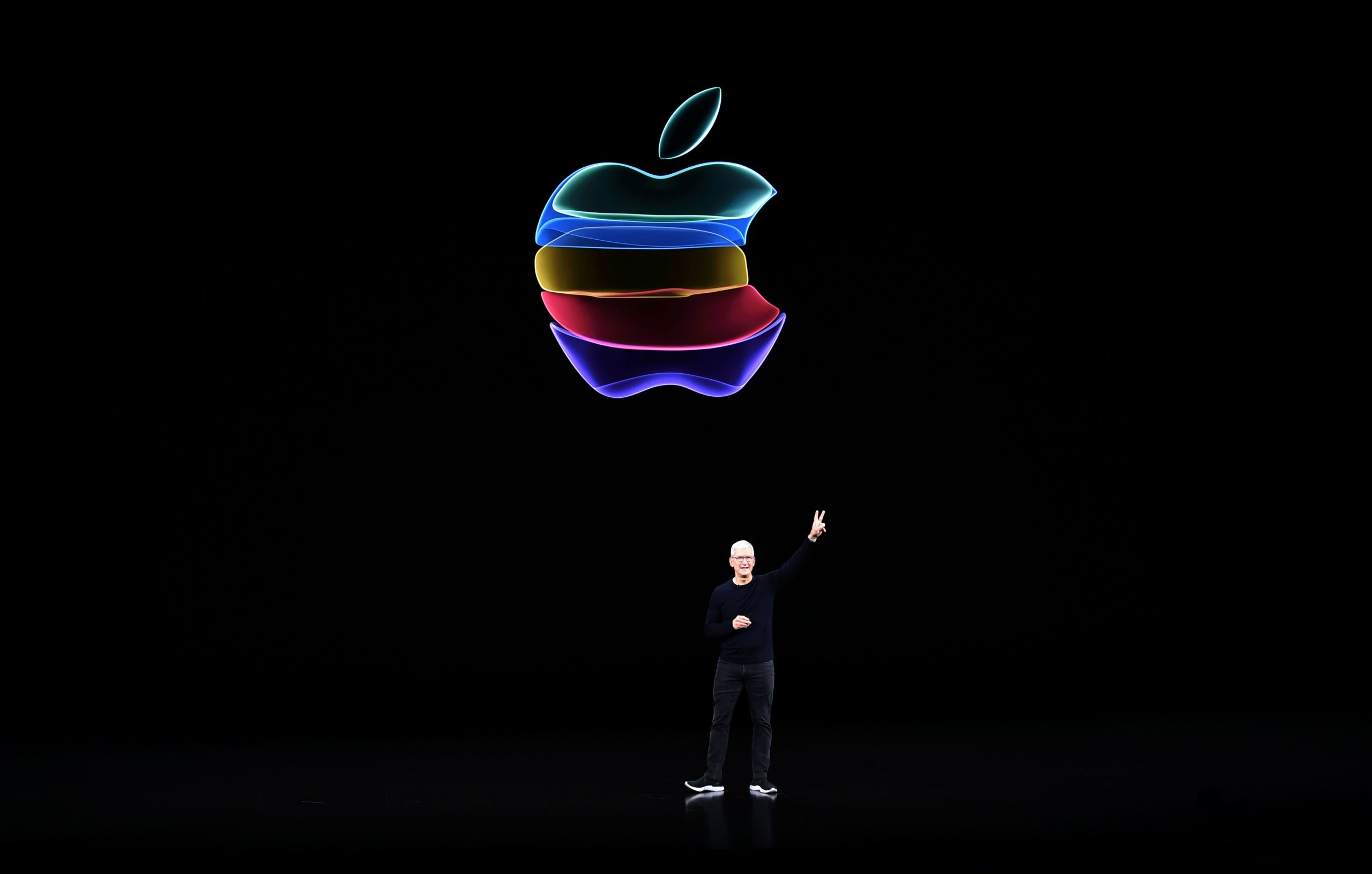 Apple CEO Tim Cook speaks on-stage during a product launch event at Apple's headquarters in Cupertino, California on Sept. 10, 2019. (Josh Edelson/AFP via Getty Images)