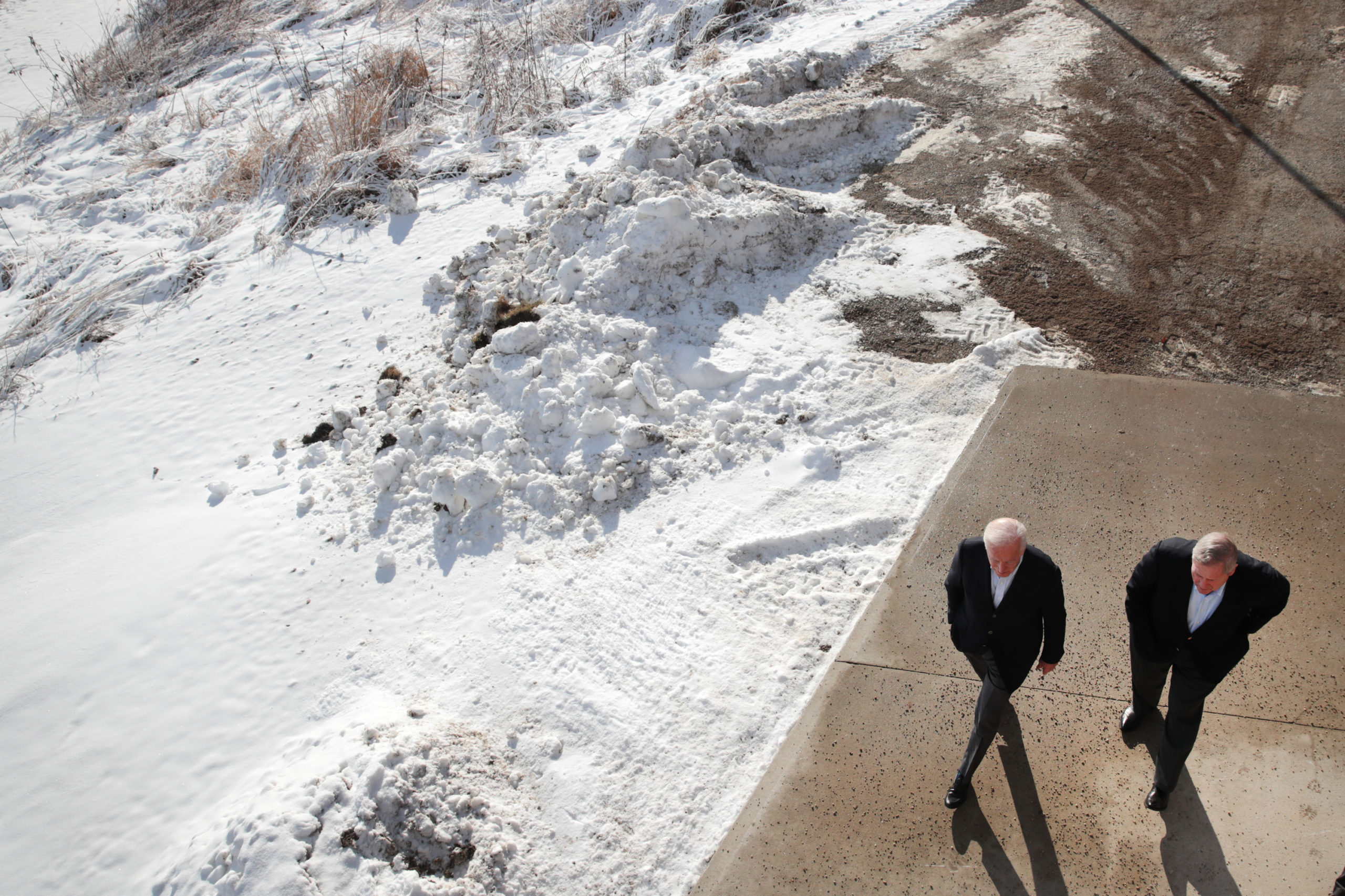 President-elect Joe Biden arrives at a campaign stop with former USDA Sec. Tom Vilsack in Algona, Iowa on Dec. 2, 2019. (Scott Olson/Getty Images)