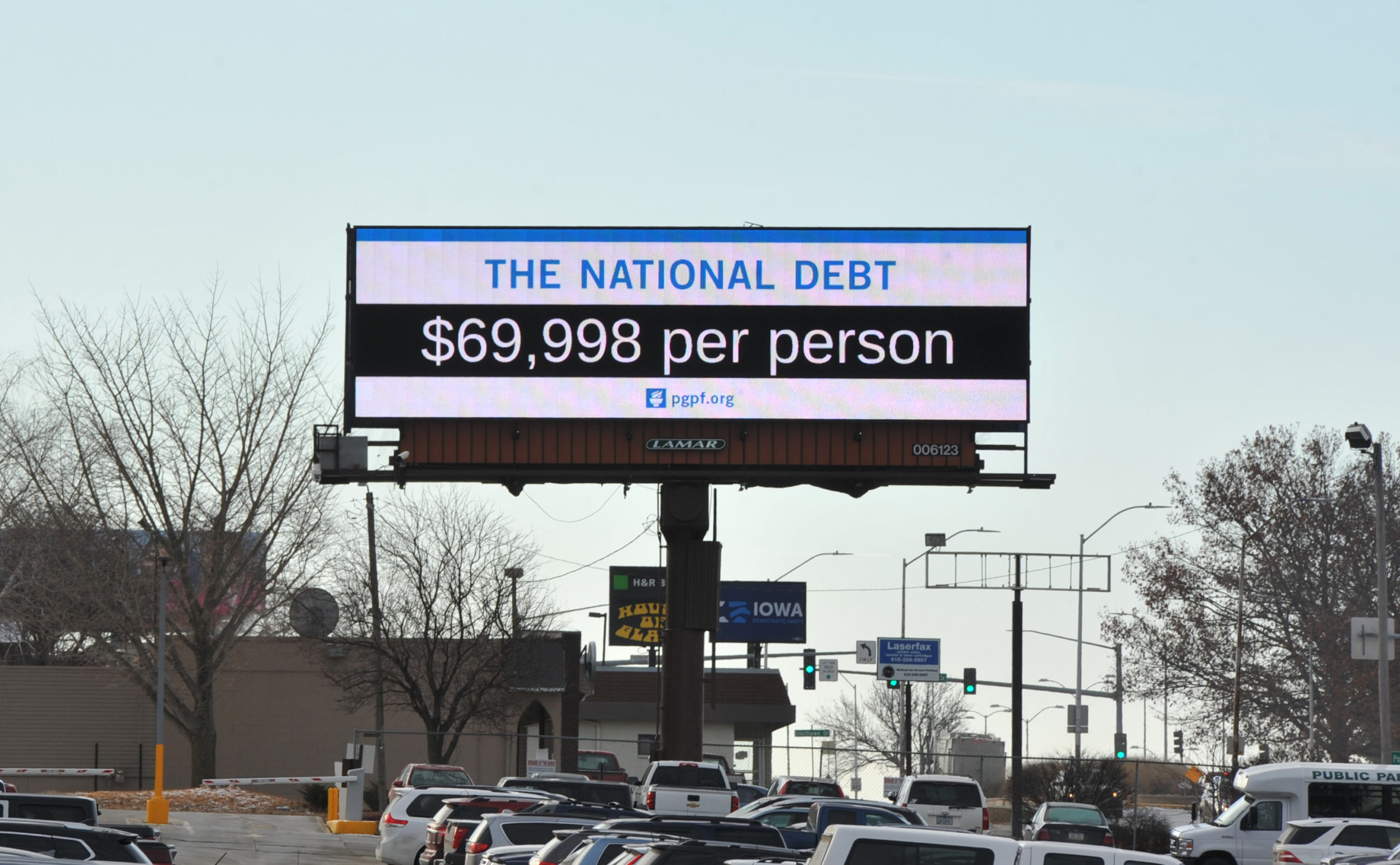 DES MOINES, IA - DECEMBER 18: A Peterson Foundation billboard displaying the national debt is pictured along Fleur Drive on December 18, 2019 in Des Moines, Iowa. (Steven Pope/Getty Images for PGPF)