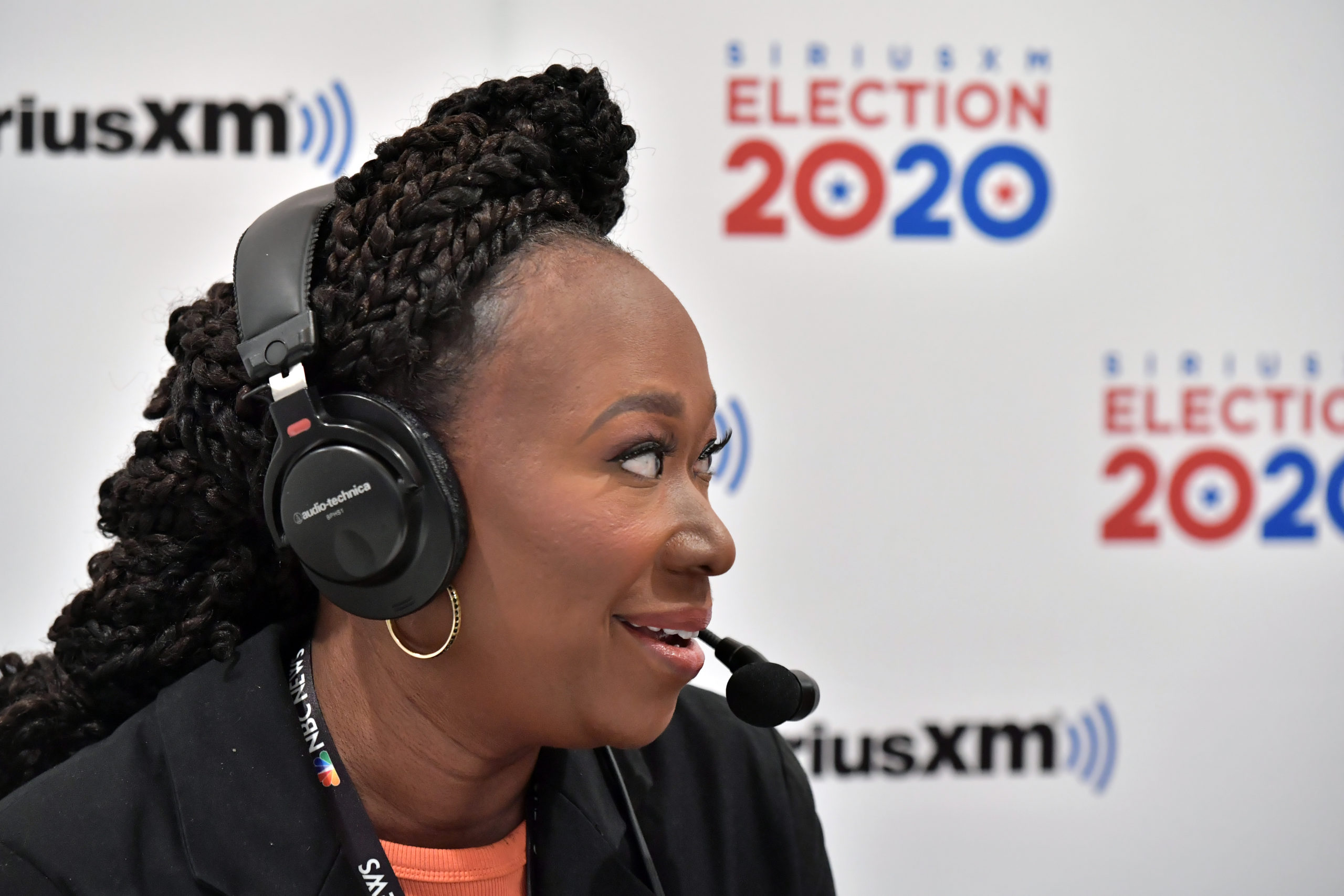 Sirius XM on air host Dean Obeidallah interviews MSNBC's Joy Reid at the DoubleTree by Hilton on February 10, 2020 in Manchester, New Hampshire. (Paul Marotta/Getty Images for SiriusXM)