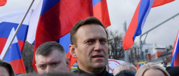 Russian opposition leader Alexei Navalny takes part in a march on Feb. 29. (Kirill Kudryavtsev/AFP via Getty Images)