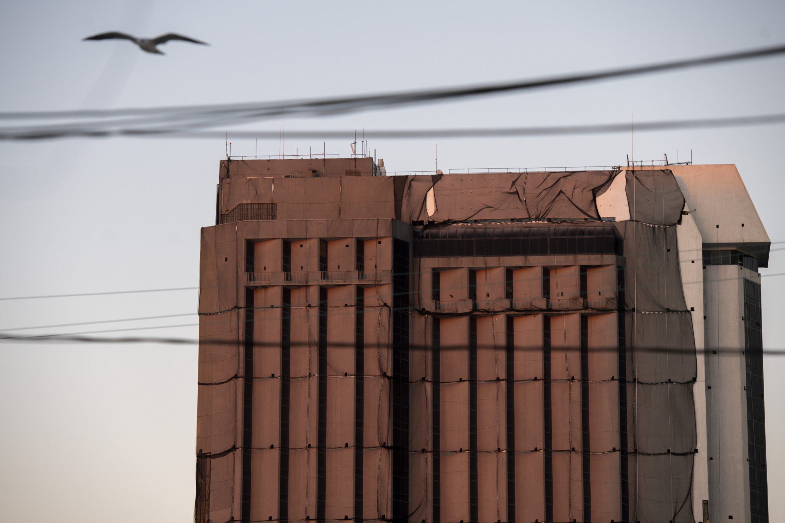 A seagull flies past protective netting draped on a tower illuminated at dusk at Trump Plaza Hotel and Casino, once one of the city's premier destinations, on Sept. 30. (Mark Makela/Getty Images)