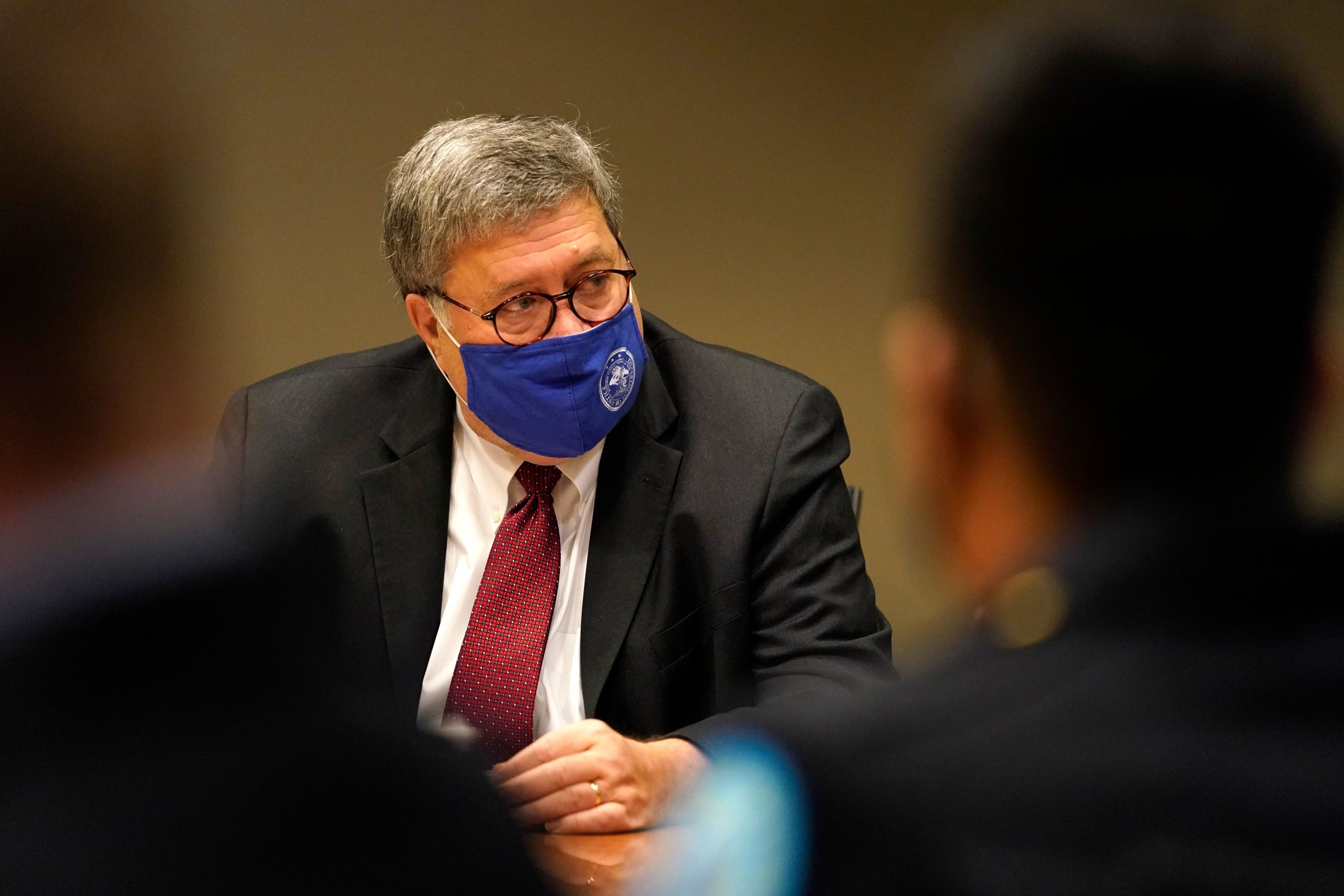 Attorney General William Barr attends a meeting on Oct. 15. (Jeff Roberson/Pool/AFP via Getty Images)