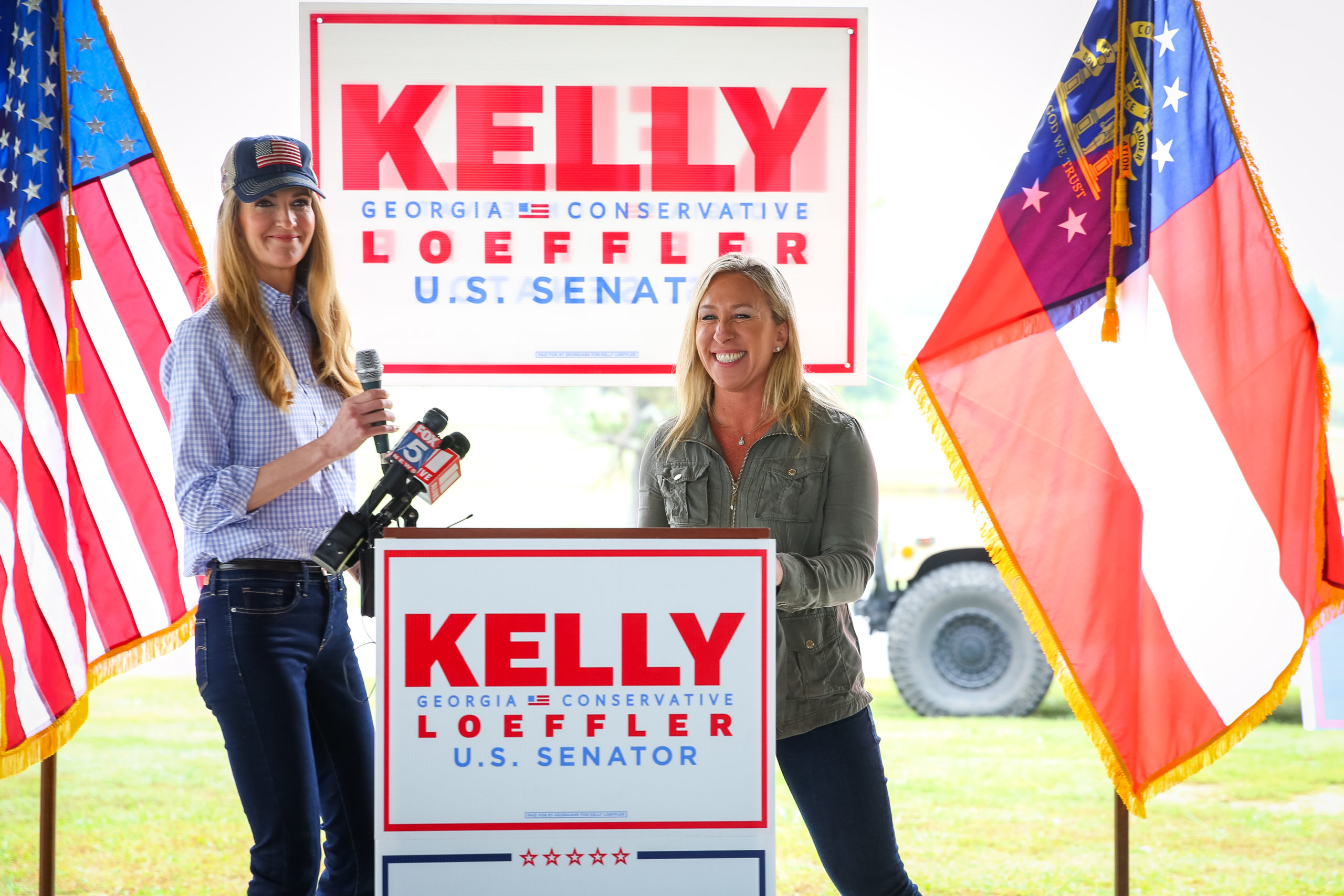 DALLAS, GA - OCTOBER 15: Georgia Republican House candidate Marjorie Taylor Greene holds a joint press conference with U.S. Sen. Kelly Loeffler (R-GA) during which Greene endorsed Loeffler on October 15, 2020 in Dallas, Georgia. (Photo by Dustin Chambers/Getty Images)