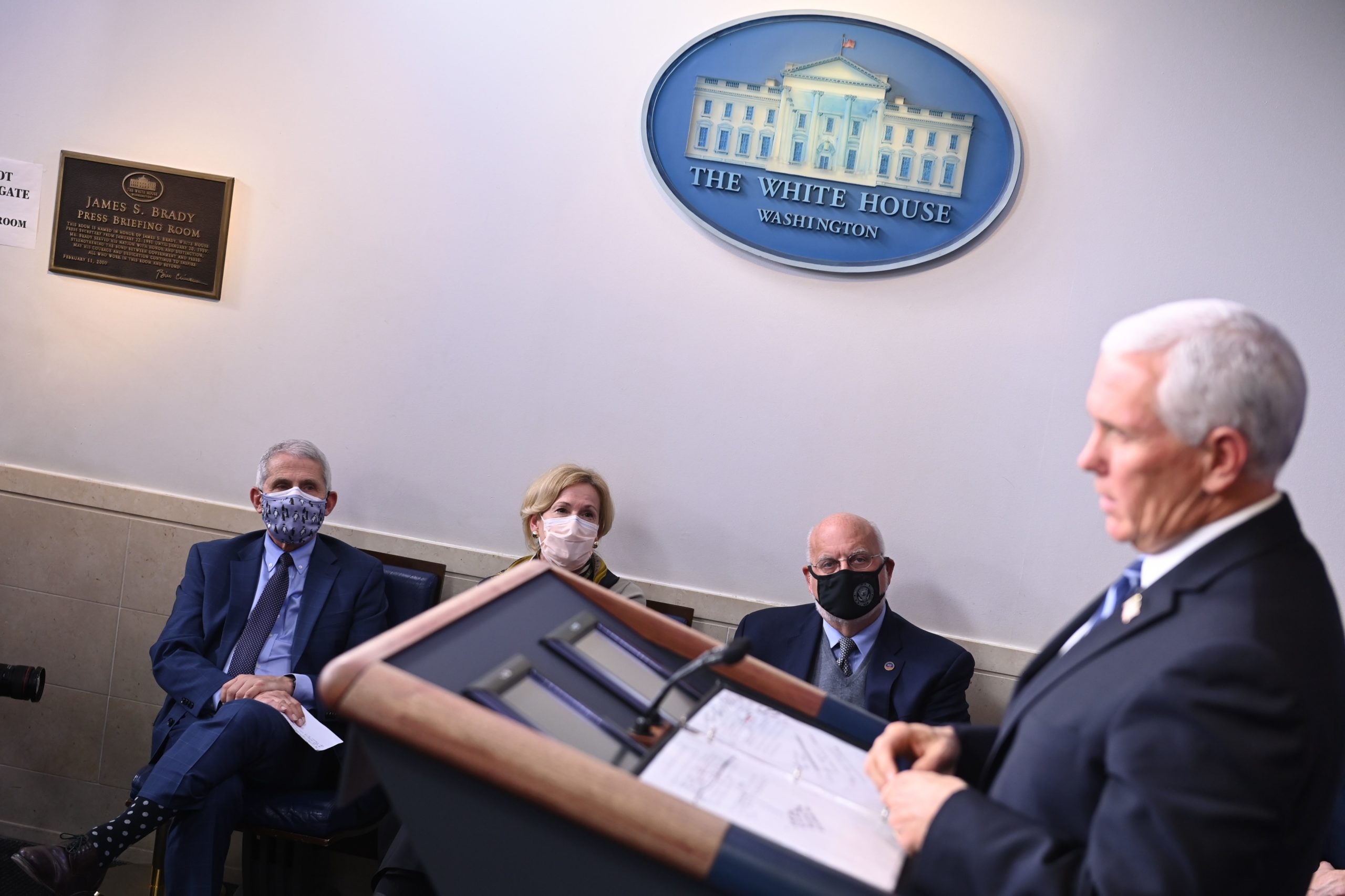 (L-R) Director of the National Institute of Allergy and Infectious Diseases Anthony Fauci, Response coordinator for White House Coronavirus Task Force Deborah Birx and Director of the Centers for Disease Control Robert Redfield listen to Vice President Mike Pence speak during a White House Coronavirus Task Force press briefing in the James S. Brady Briefing Room of the White House on November 19, 2020. (Photo by BRENDAN SMIALOWSKI/AFP via Getty Images)