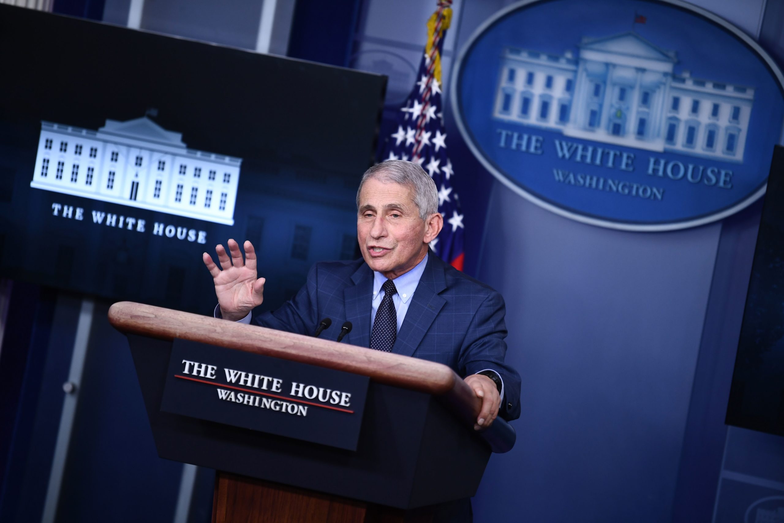 Dr. Anthony Fauci speaks during a White House Coronavirus Task Force. (Photo by BRENDAN SMIALOWSKI/AFP via Getty Images)