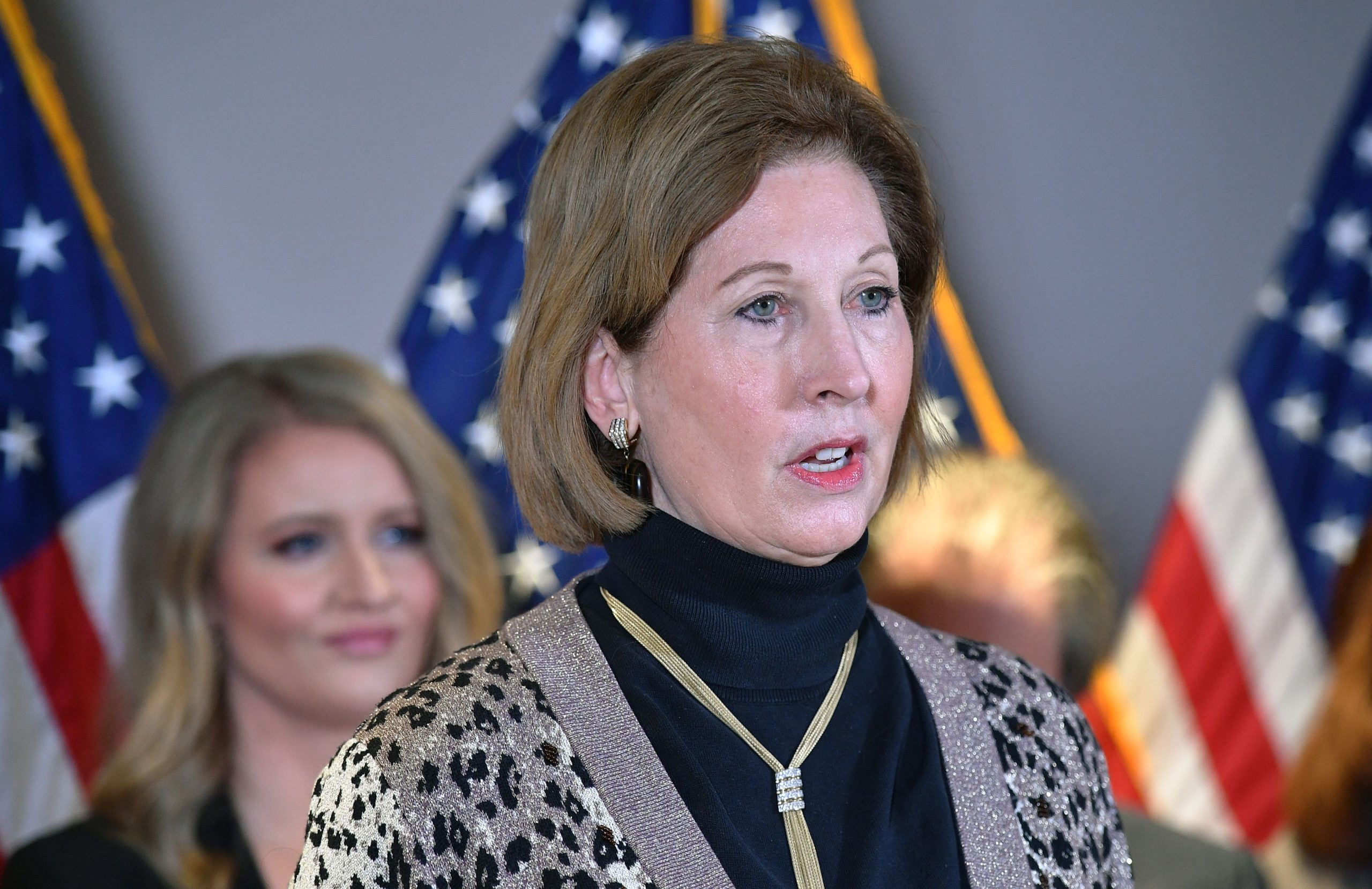 A November 19, 2020 photo shows Sidney Powell speaking during a press conference at the Republican National Committee headquarters in Washington, DC. - US President Donald Trump's personal lawyer Rudy Giuliani and campaign lawyer Jenna Ellis reportedly said that Powell is not a member of the Trump legal team. (Photo by MANDEL NGAN/AFP via Getty Images)
