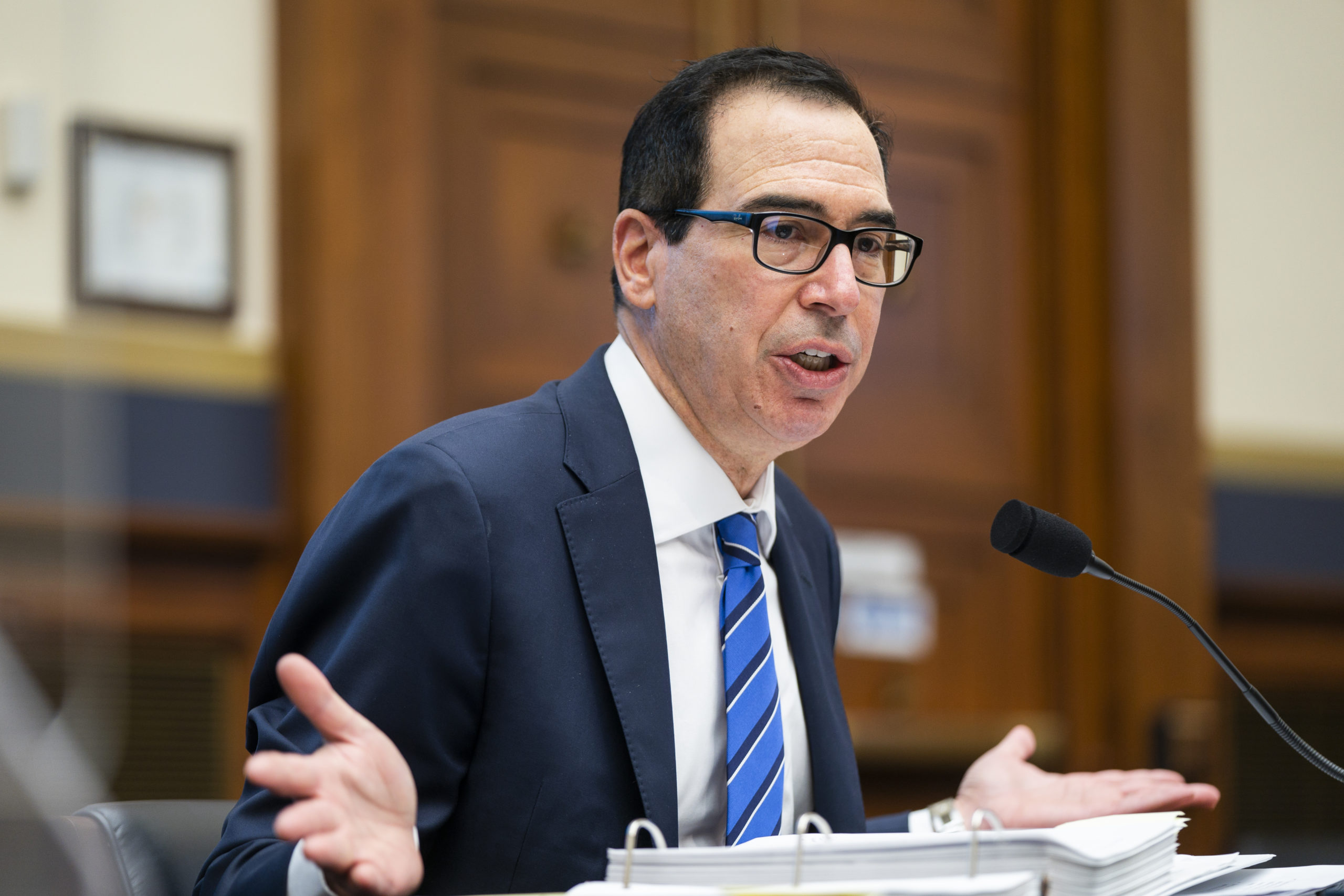 WASHINGTON, DC - DECEMBER 02: Treasury Secretary Steven Mnuchin testifies before a House Financial Services Committee hearing on Oversight of the Treasury Department's and Federal Reserve's Pandemic Response in the Rayburn House Office Building on December 2, 2020 in Washington, DC. (Photo by Jim Lo Scalzo -Pool/Getty Images)