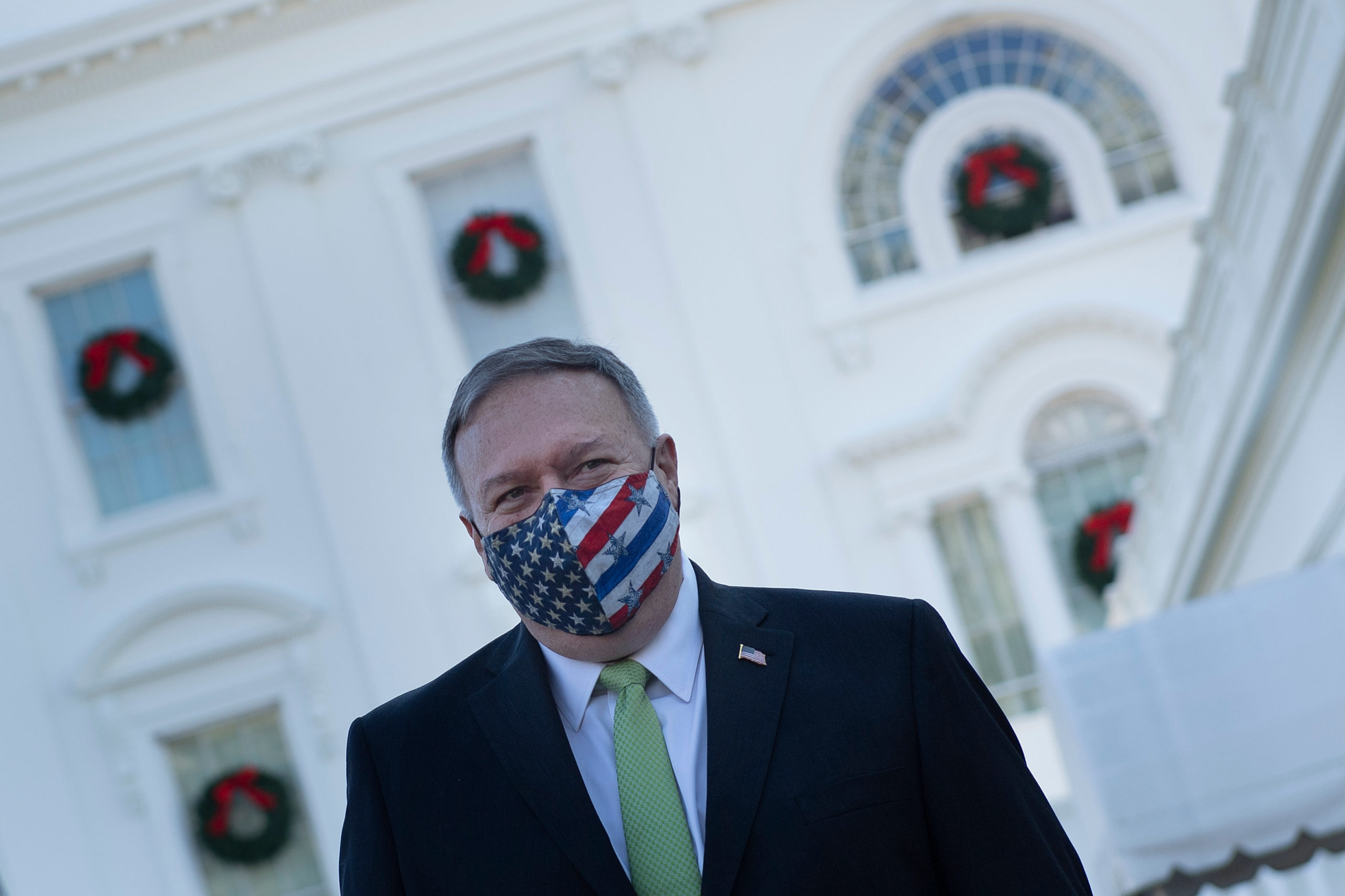 US Secretary of State Mike Pompeo leaves the White House after visiting with family December 11, 2020, in Washington, DC. (Photo by BRENDAN SMIALOWSKI/AFP via Getty Images)