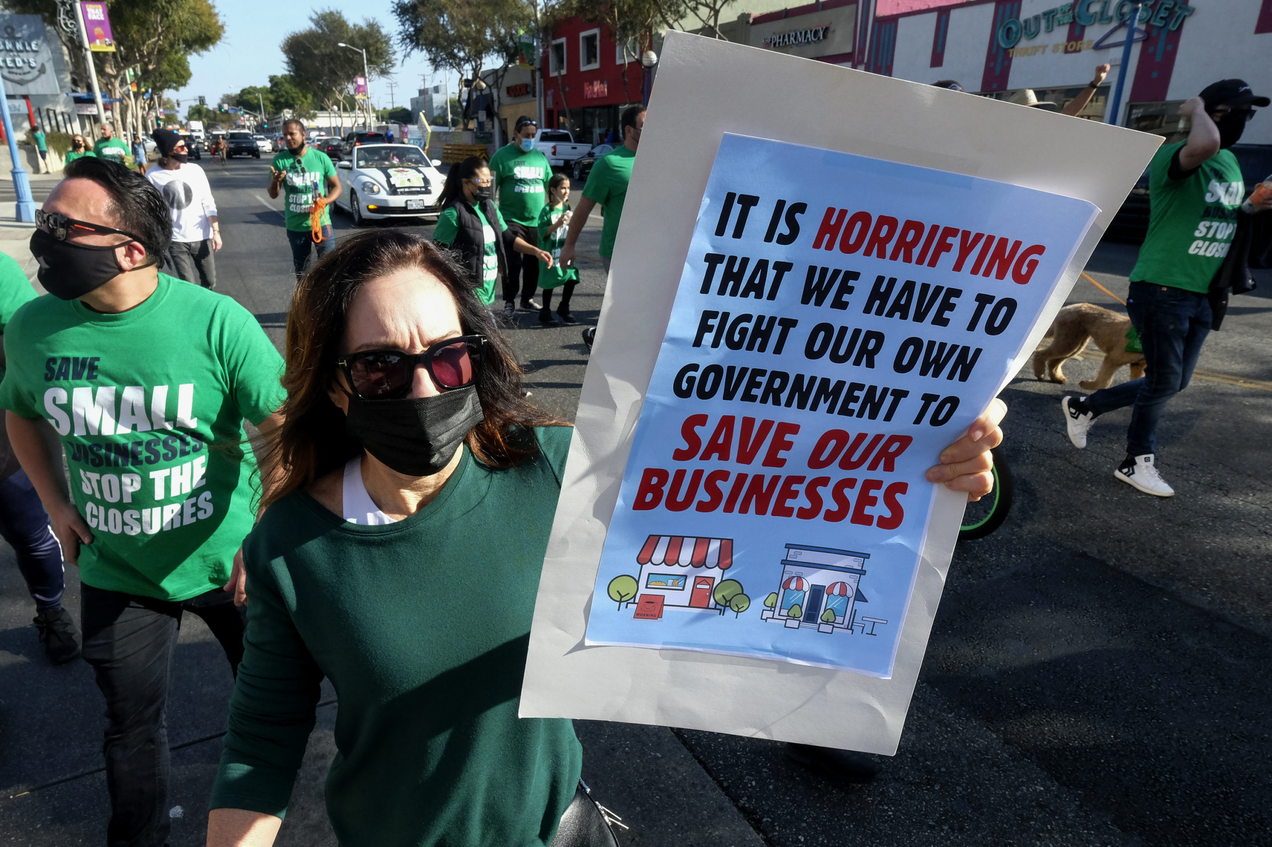 Members of small business owners take part in a 'Save Small Business' protest in Los Angeles, California on Dec. 12. (Ringo Chiu/AFP via Getty Images)