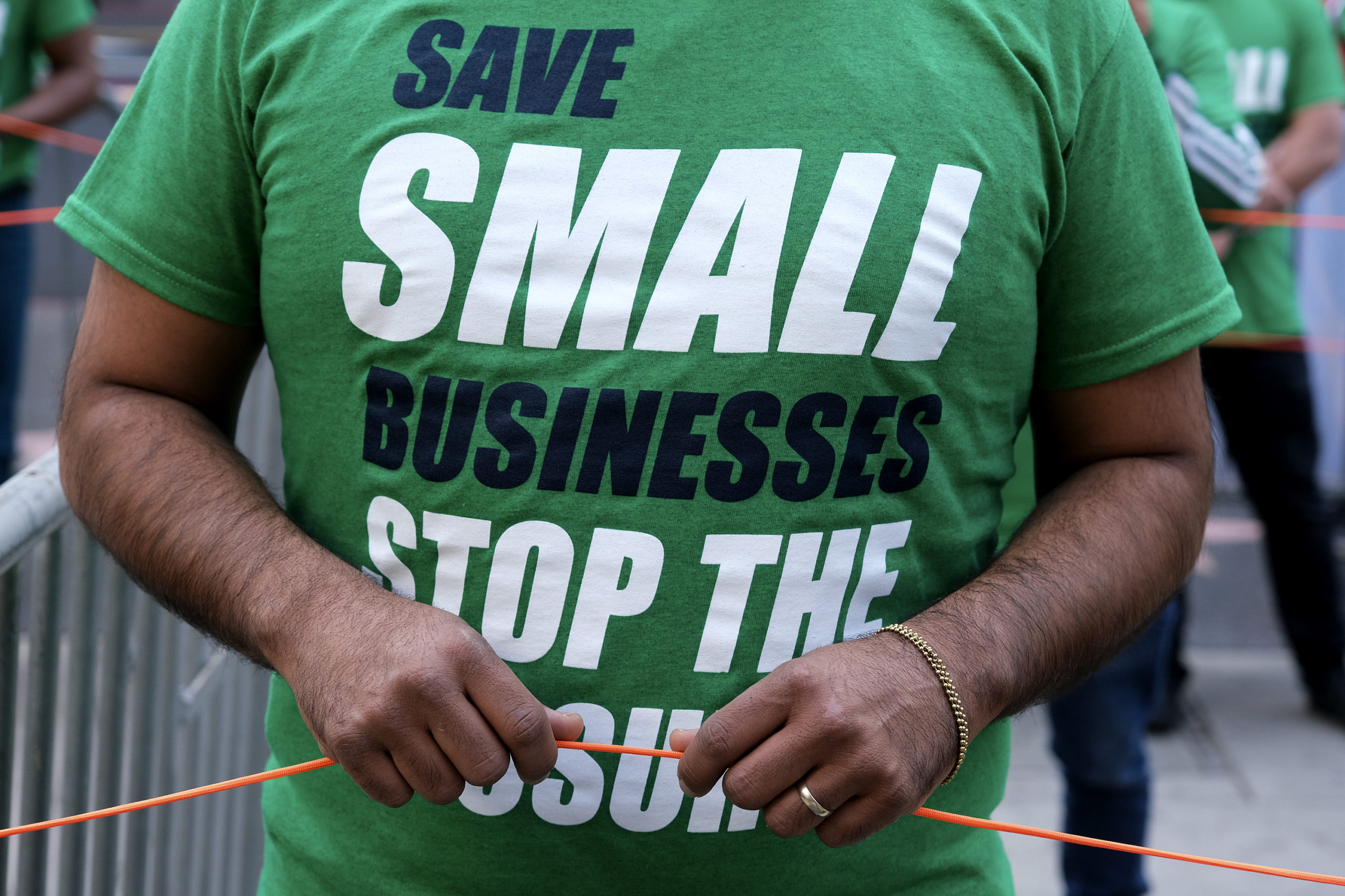 "The ""Save Small Business"" protest takes place in Los Angeles, California on Dec. 12. (Ringo Chiu/AFP via Getty Images)"