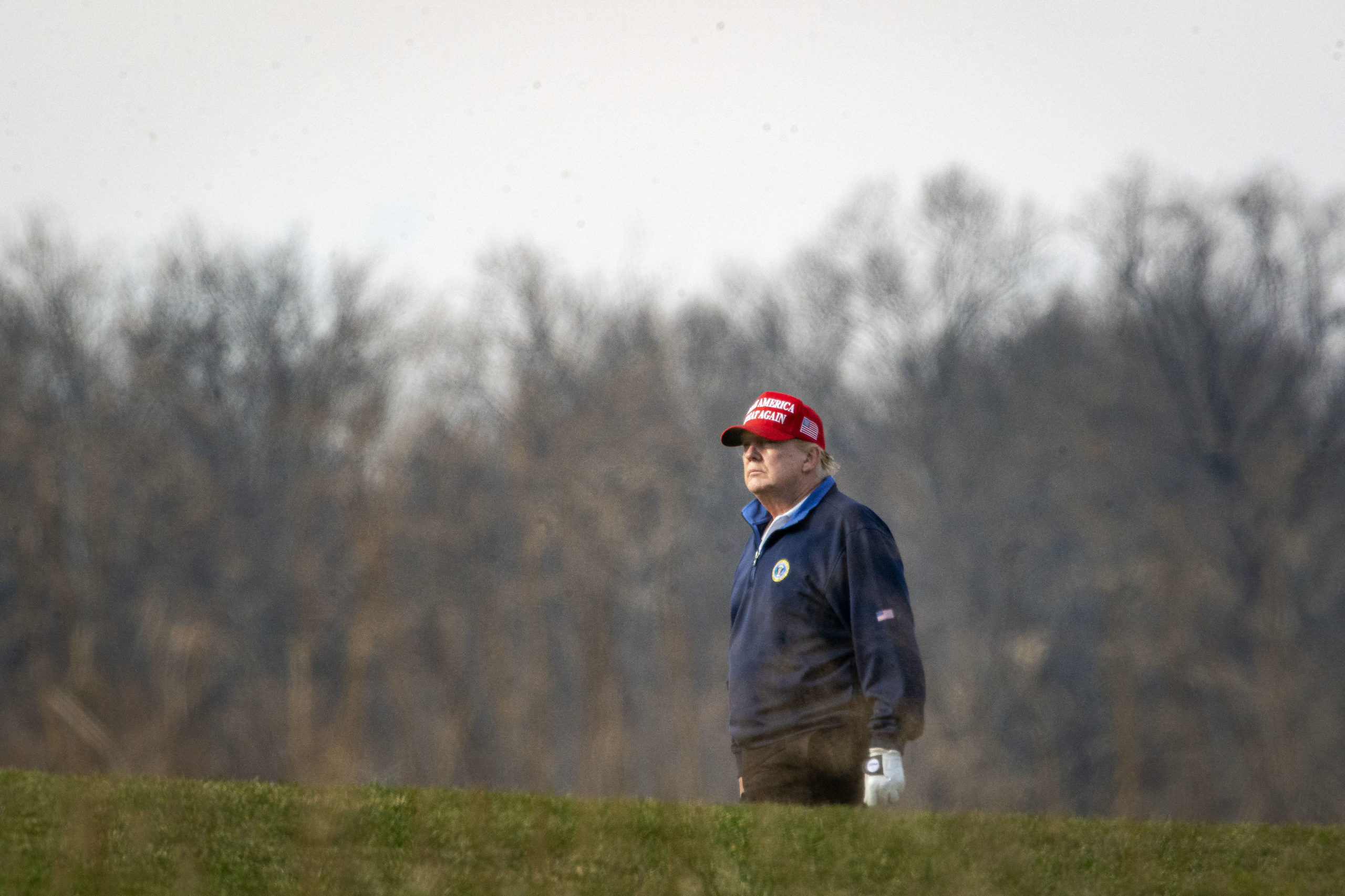 STERLING, VA - DECEMBER 13: U.S. President Donald Trump golfs at Trump National Golf Club on December 13, 2020 in Sterling, Virginia. (Photo by Al Drago/Getty Images)