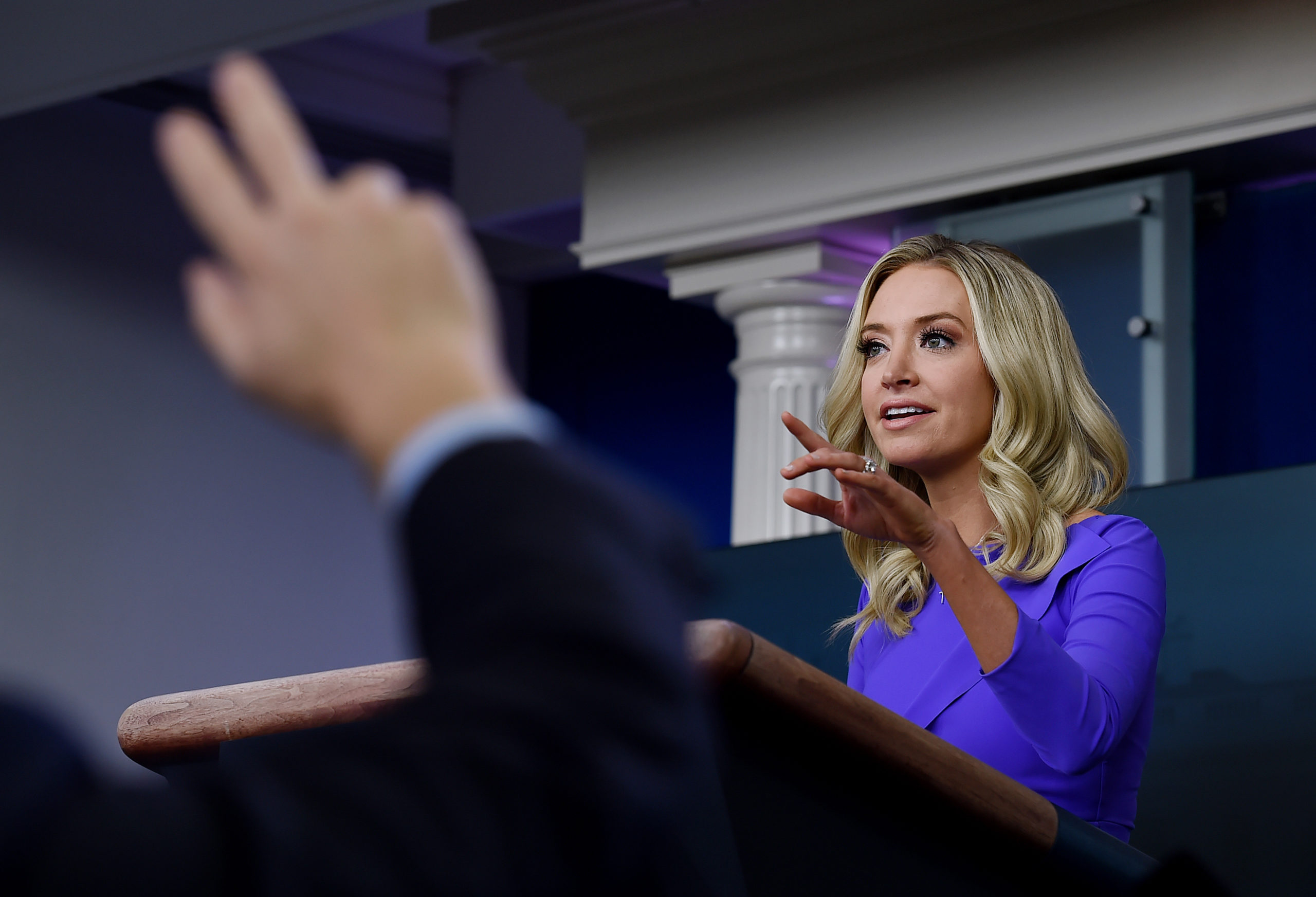 White House Press Secretary Kayleigh McEnany speaks during a press briefing on December 15, 2020, in the Brady Briefing Room of the White House in Washington, DC. (Photo by OLIVIER DOULIERY/AFP via Getty Images)