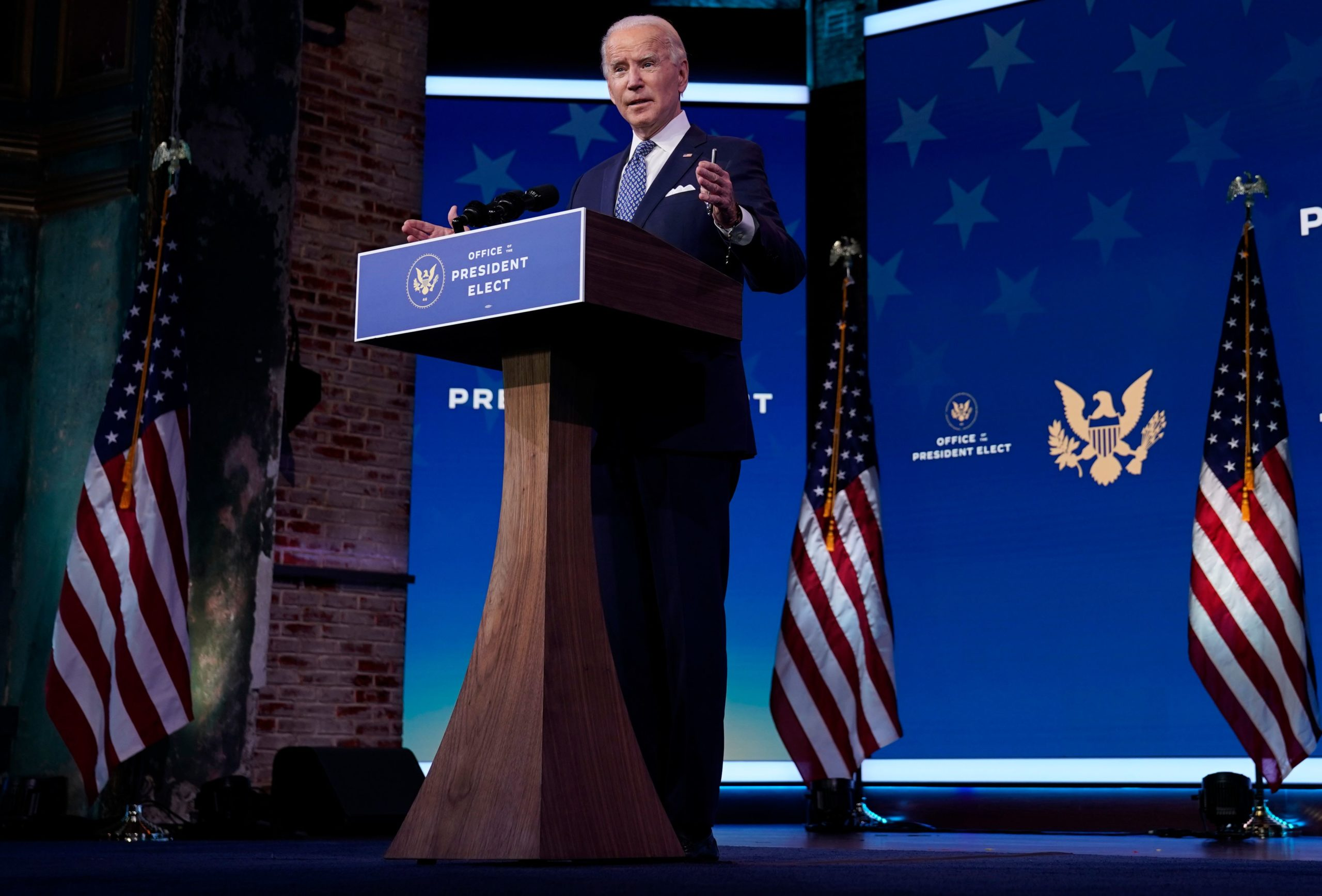 US President-Elect Joe Biden delivers remarks before the holiday at The Queen in Wilmington, Delaware on December 22, 2020. (Photo by ALEX EDELMAN/AFP via Getty Images)