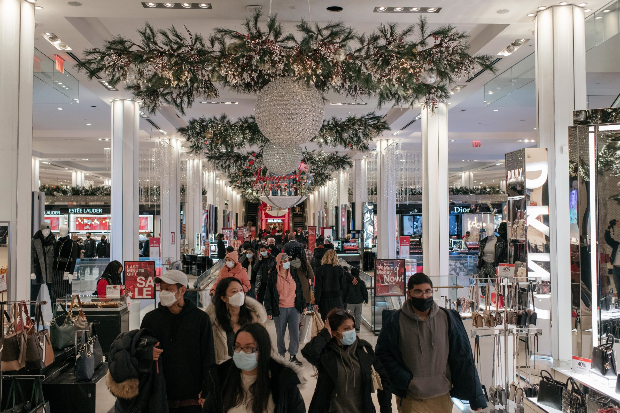 Holiday shoppers make a last-minute trip to the Macy's flagship department store in New York City on Dec. 24. (Scott Heins/Getty Images)