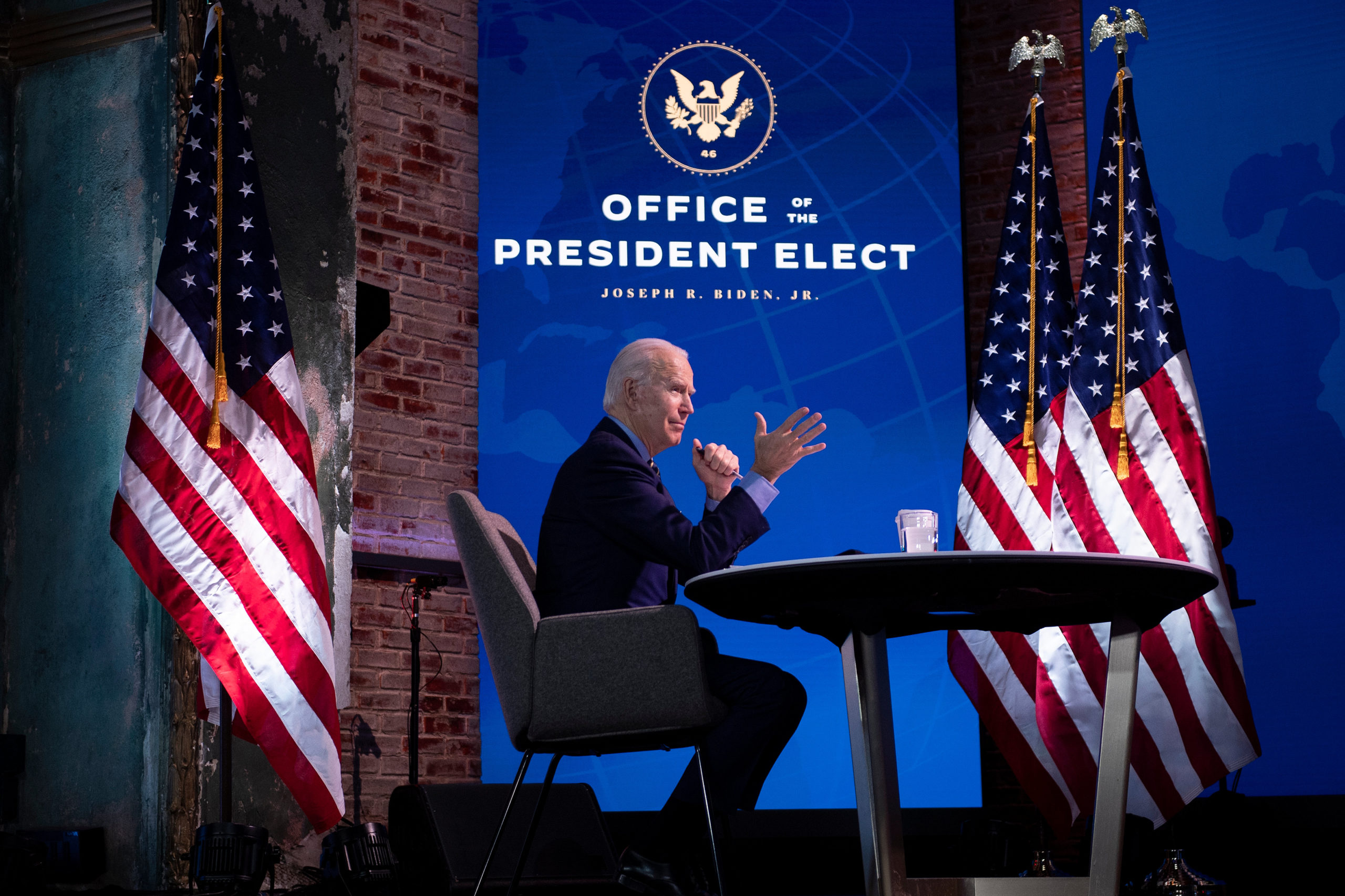 US President-elect Joe Biden speaks during a foreign policy and national security virtual meeting at the Queen Theater December 28, 2020, in Wilmington, Delaware. (Photo by BRENDAN SMIALOWSKI/AFP via Getty Images)