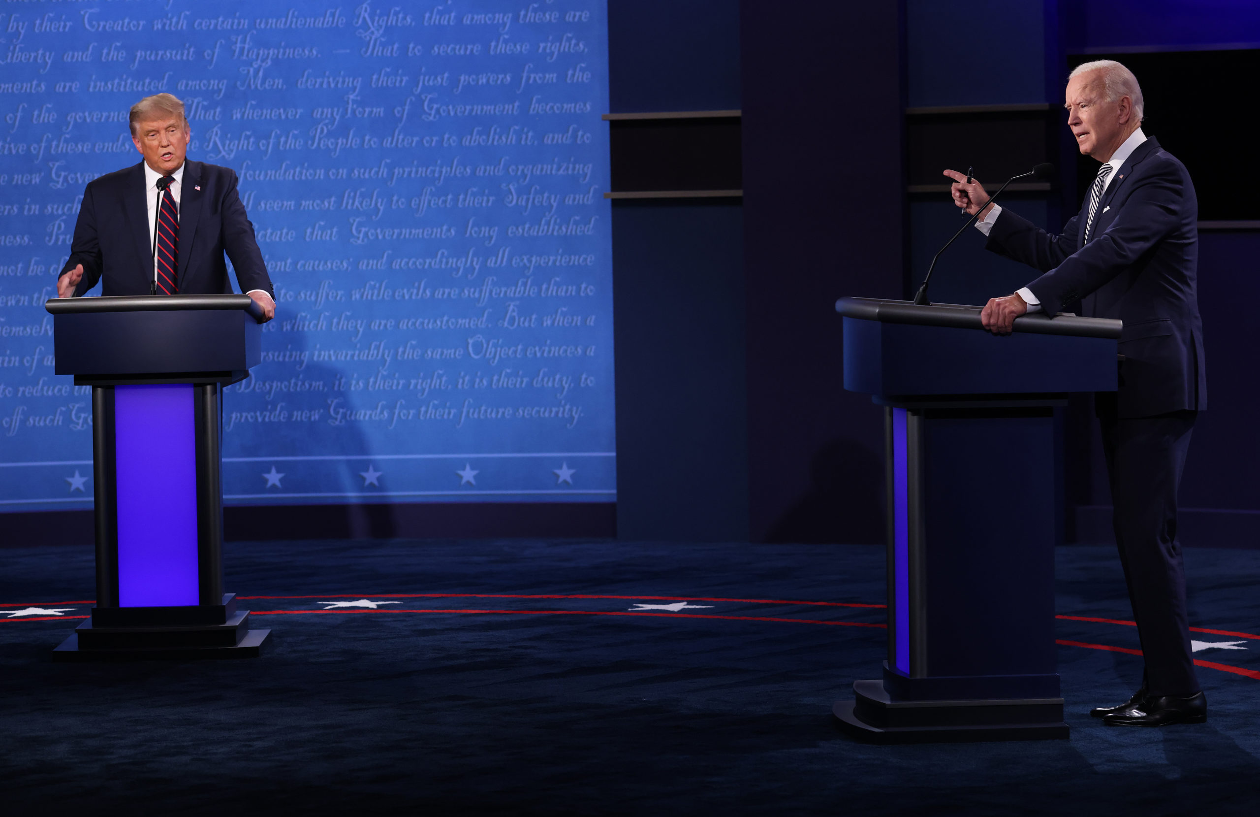 CLEVELAND, OHIO - SEPTEMBER 29: U.S. President Donald Trump and Democratic presidential nominee Joe Biden participate in the first presidential debate at the Health Education Campus of Case Western Reserve University on September 29, 2020 in Cleveland, Ohio. This is the first of three planned debates between the two candidates in the lead up to the election on November 3. (Photo by Win McNamee/Getty Images)