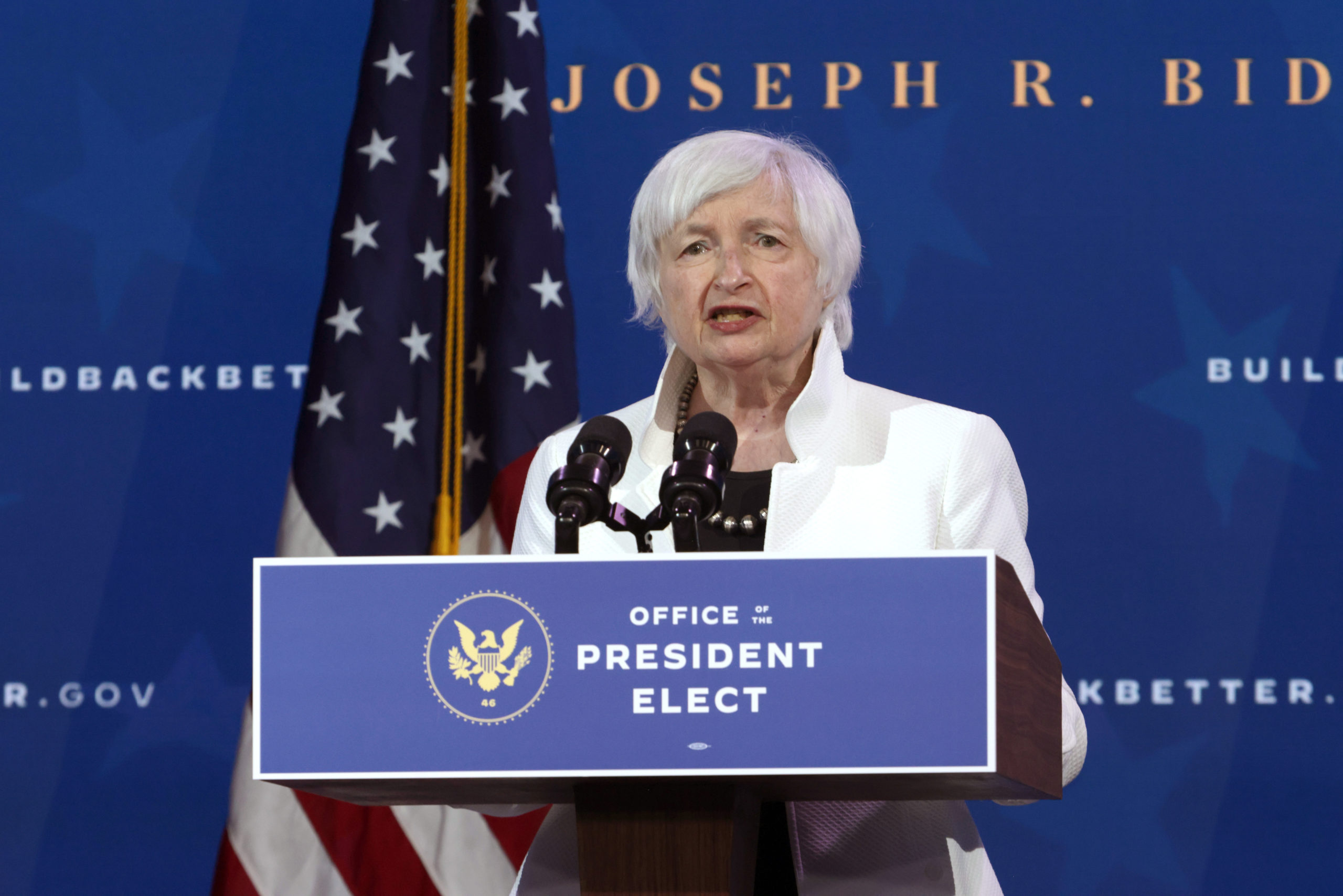 U.S. Secretary of the Treasury nominee Janet Yellen speaks during an event to name President-elect Joe Biden's economic team at the Queen Theater on December 1, 2020 in Wilmington, Delaware. (Getty Images)