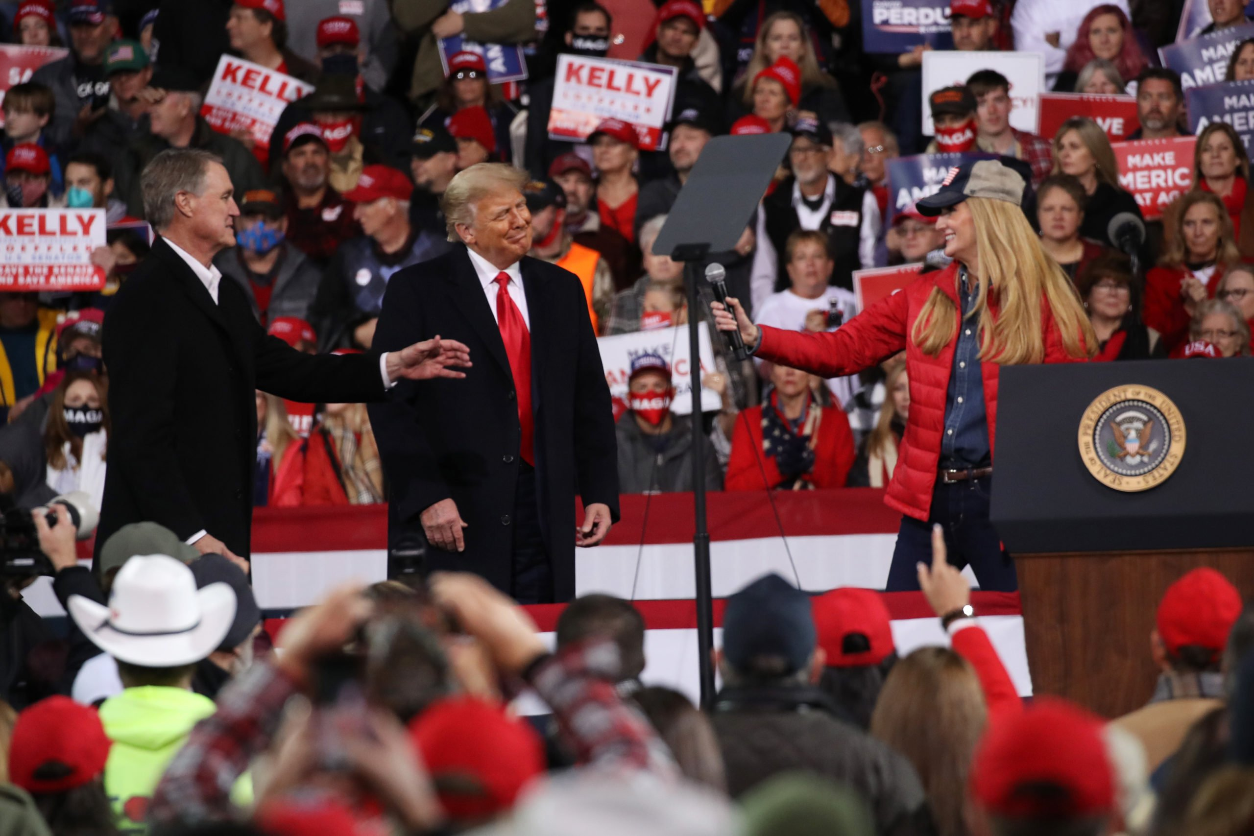 VALDOSTA, GEORGIA - DECEMBER 05: President Donald Trump attends a rally in support of Sen. David Perdue (R-GA) and Sen. Kelly Loeffler (R-GA) on December 05, 2020 in Valdosta, Georgia. The rally with the senators comes ahead of a crucial runoff election for Perdue and Loeffler on January 5th which will decide who controls the United States senate. (Spencer Platt/Getty Images)