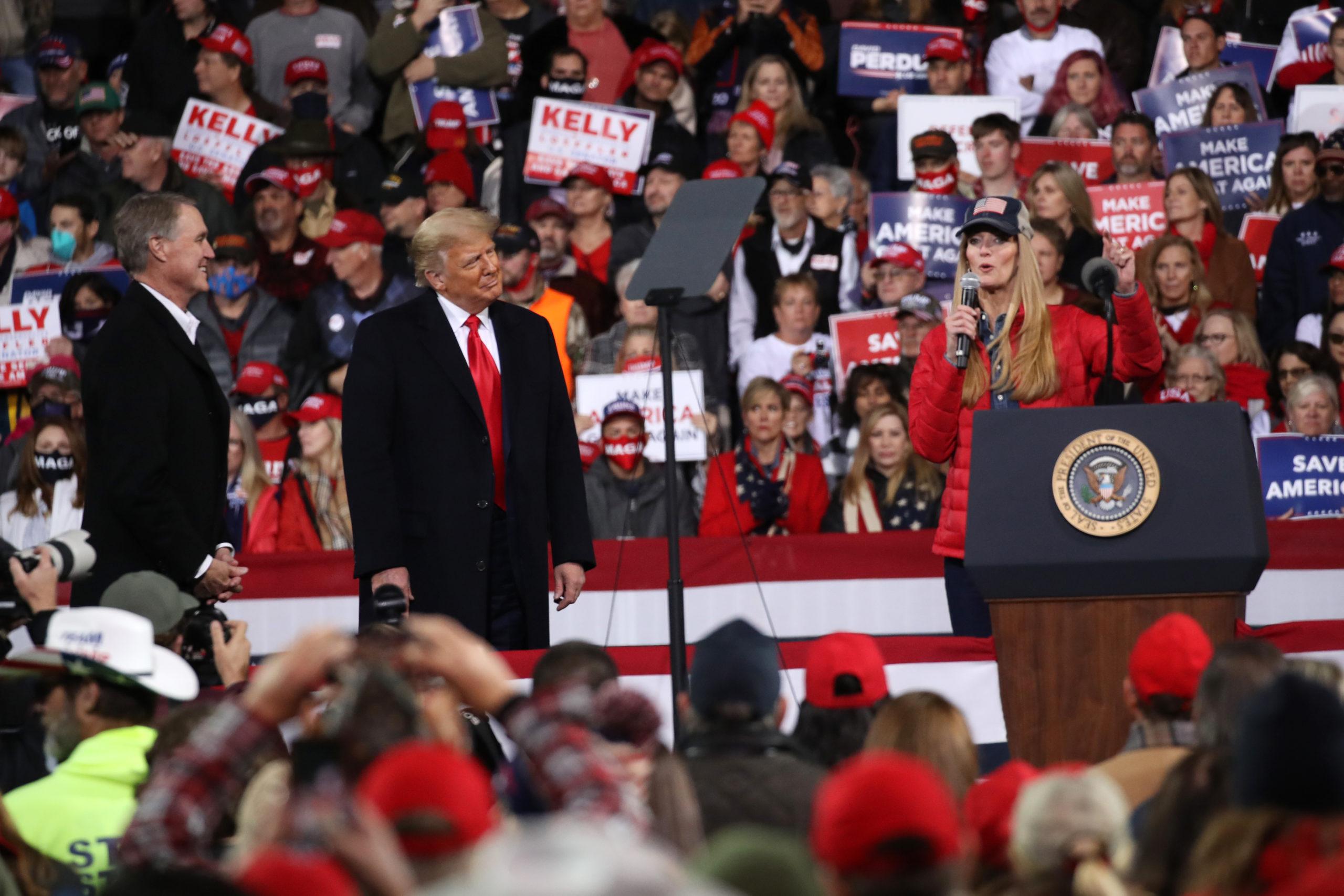 VALDOSTA, GEORGIA - DECEMBER 05: President Donald Trump attends a rally in support of Sen. David Perdue (R-GA) and Sen. Kelly Loeffler (R-GA) on December 05, 2020 in Valdosta, Georgia. (Photo by Spencer Platt/Getty Images)