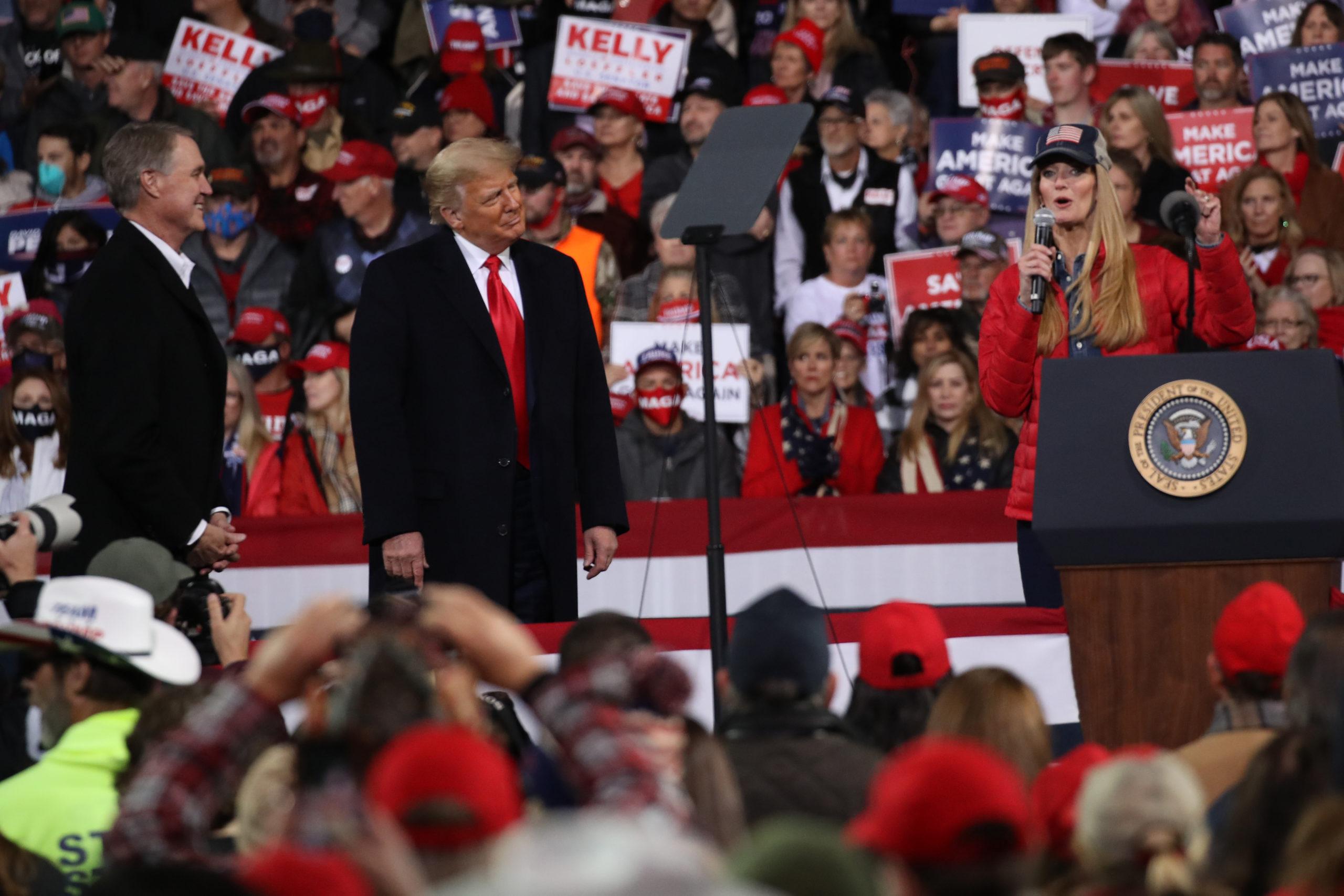 President Donald Trump attends a rally in support of Sen. David Perdue and Sen. Kelly Loeffler on December 05, 2020 in Valdosta, Georgia. (Spencer Platt/Getty Images)