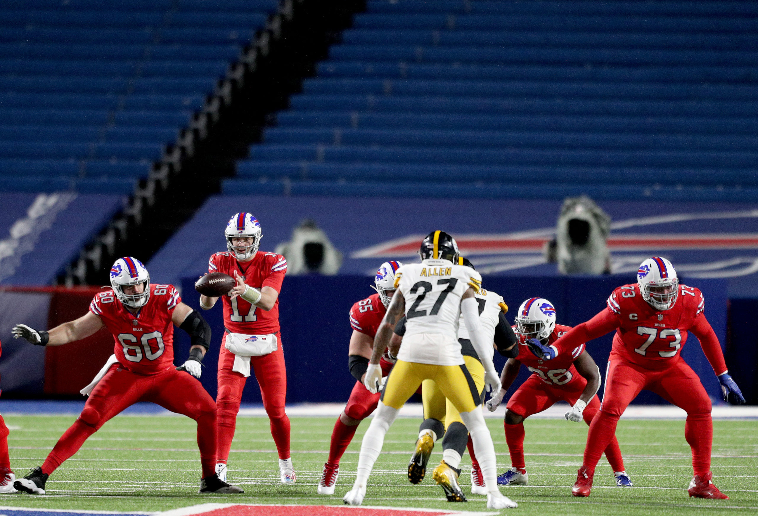 ORCHARD PARK, NEW YORK - DECEMBER 13: Josh Allen #17 of the Buffalo Bills takes the snap against the Pittsburgh Steelers during the third quarter in the game at Bills Stadium on December 13, 2020 in Orchard Park, New York. (Bryan M. Bennett/Getty Images)