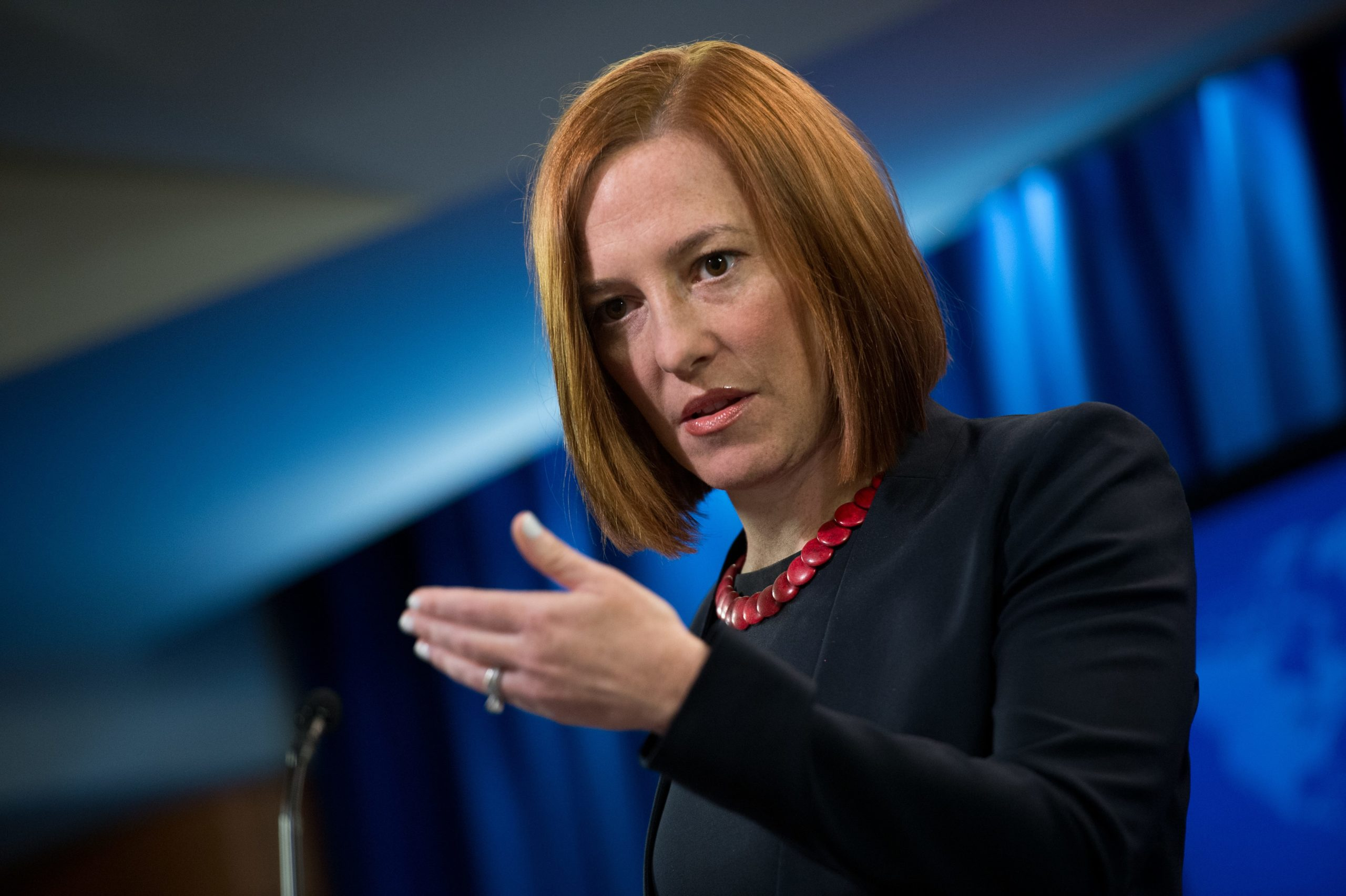 """US State Department spokeswoman Jen Psaki speaks at the daily briefing at the State Department in Washington,DC on March 10, 2014. Washington called on Russia to prove that it was willing to act on a series of US proposals aimed at ending the crisis over Ukraine. US Secretary of State John Kerry had laid out a number of ideas to his Russian counterpart Sergei Lavrov and is prepared to take part in further talks """"if and when we see concrete evidence that Russia is prepared to engage on these proposals,"""" Psaki said. AFP PHOTO/Nicholas KAMM (Photo by Nicholas KAMM / AFP) (Photo by NICHOLAS KAMM/AFP via Getty Images)"""