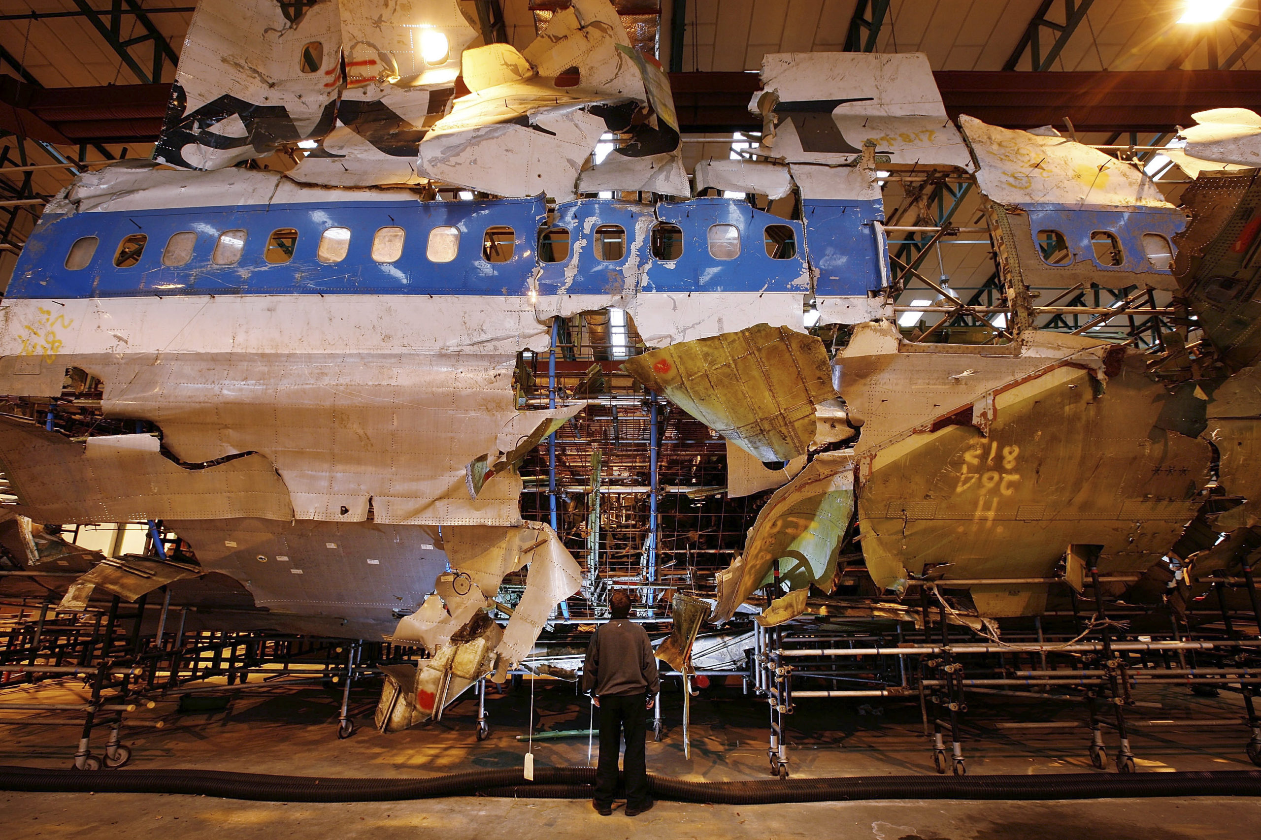 FARNBOROUGH, UNITED KINGDOM - JANUARY 15: The reconstructed remains of Pan Am flight 103 lie in a warehouse on January 15, 2008 in Farnborough, England. The Air Accident Investigation Branch have housed the remains of the Boeing 747 for the past 19 years. 20 years ago a terrorist bomb exploded on-board destroying the aircraft over the Scottish town of Lockerbie killing 270 - including 11 people on the ground. (Photo by Peter Macdiarmid/Getty Images)